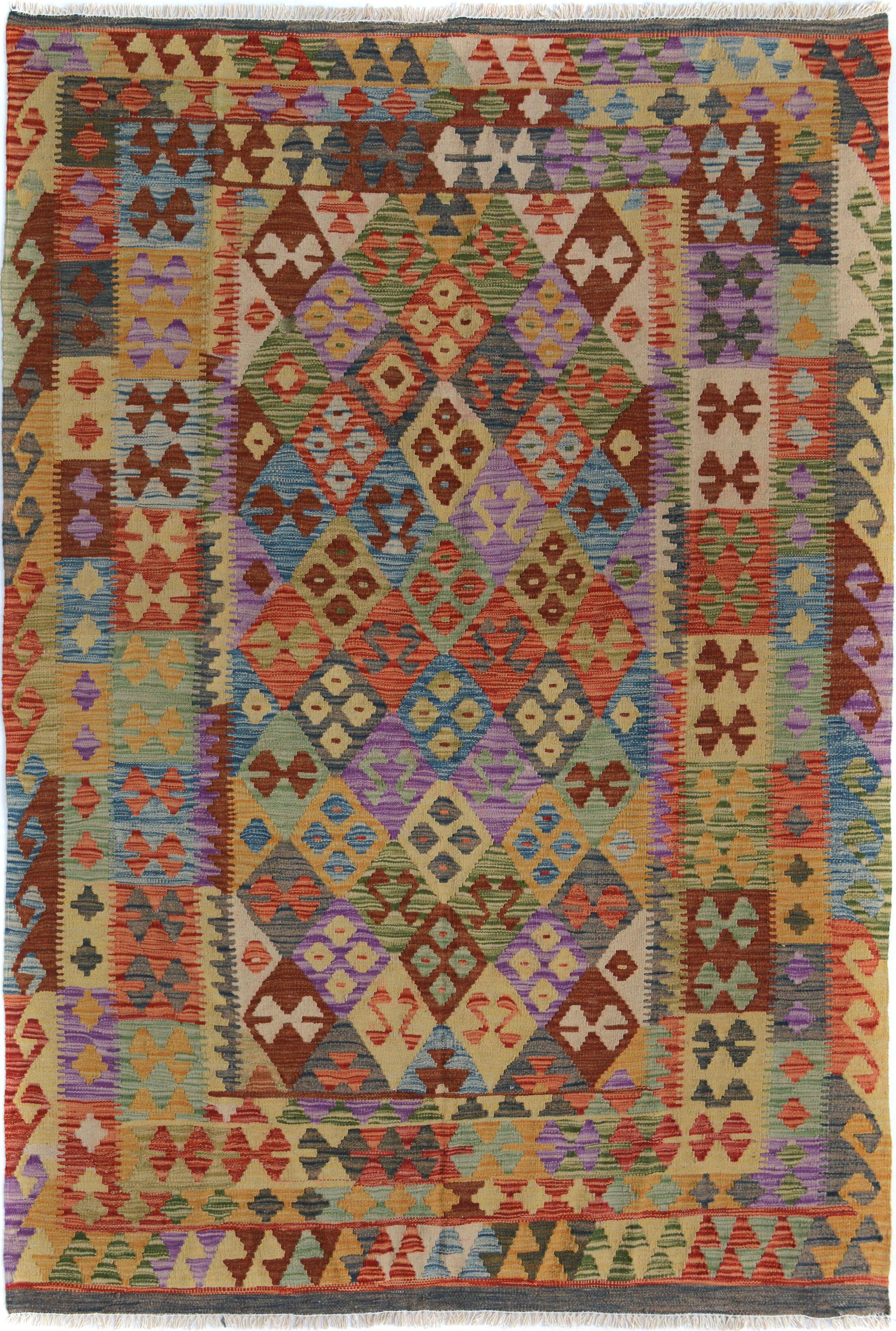 Rosalina Handmade-Kilim Wool Rust/Blue Fringe Area Rug
