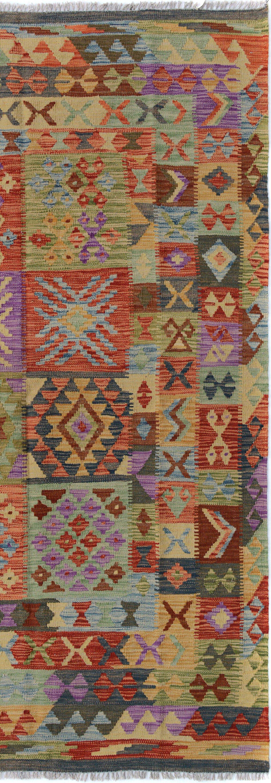 Rosalina Handmade-Kilim Wool Purple/Rust Area Rug