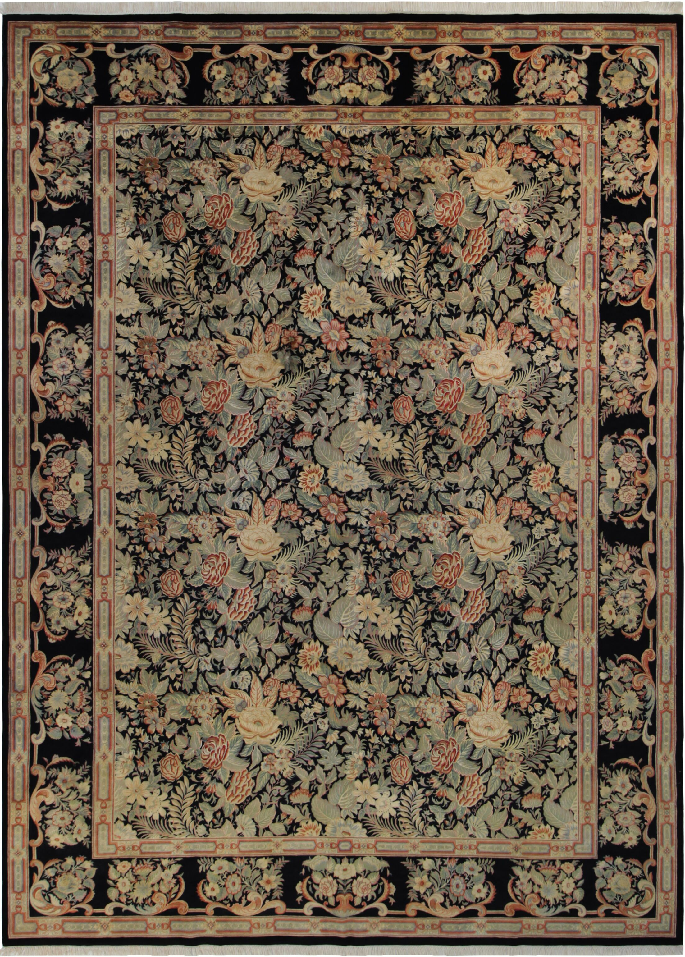 Bellomy Abusson Hand-Knotted Wool Black/Blue Area Rug