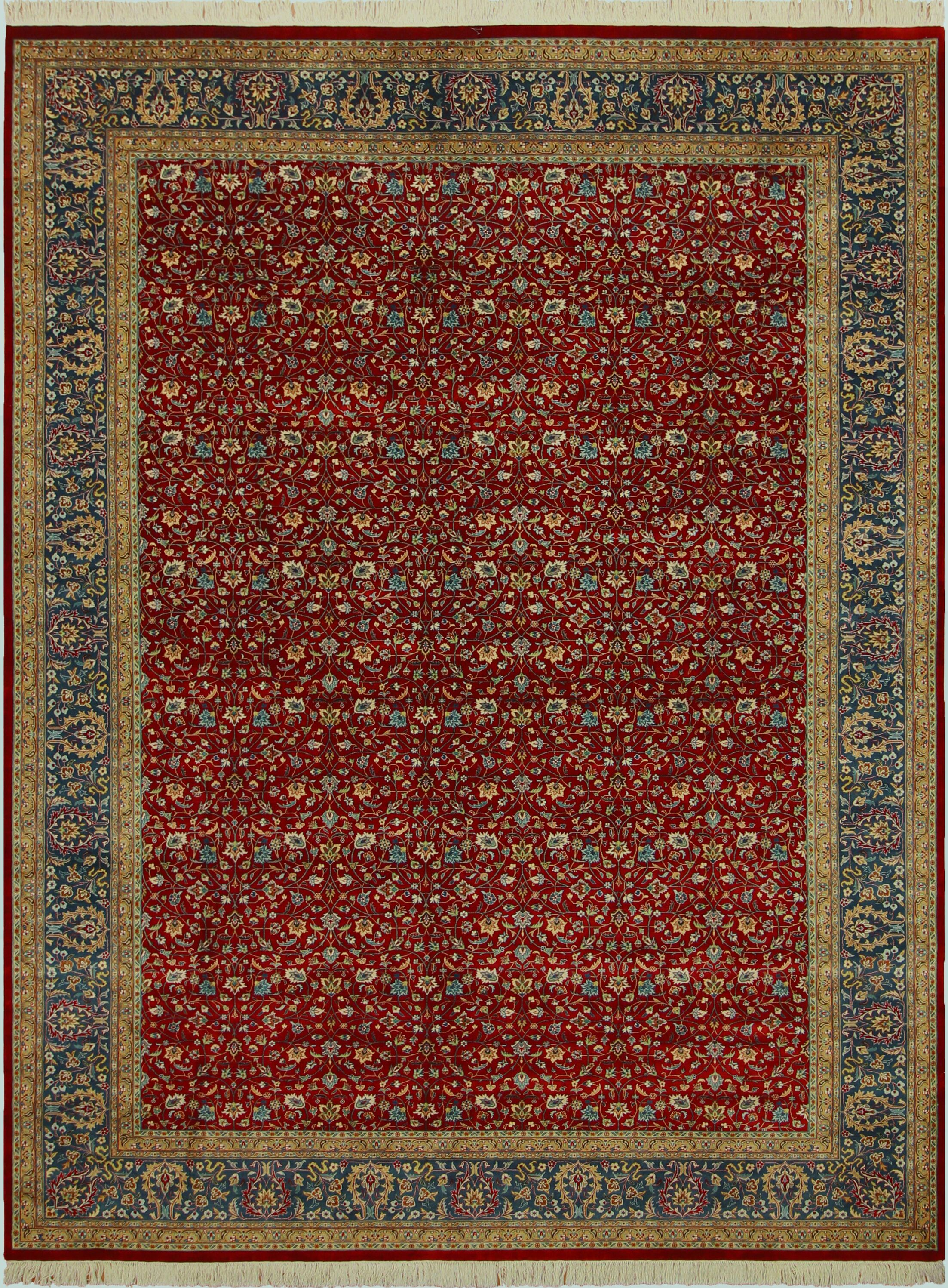Bellville Persian Hand-Knotted Wool Red/Teal Area Rug