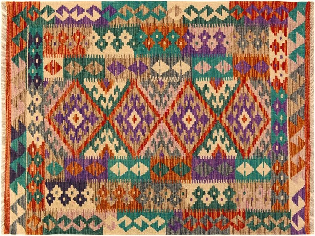 One-of-a-Kind Bakerstown Kilim Hand-Woven Rust/Teal Area Rug