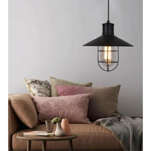 Edison Industrial Caged 1 Light Foyer Dome Pendant