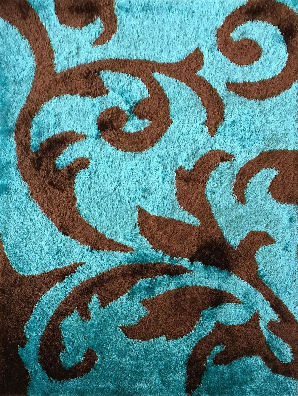 Vinny Hand-Knotted Brown/Turquoise Area Rug