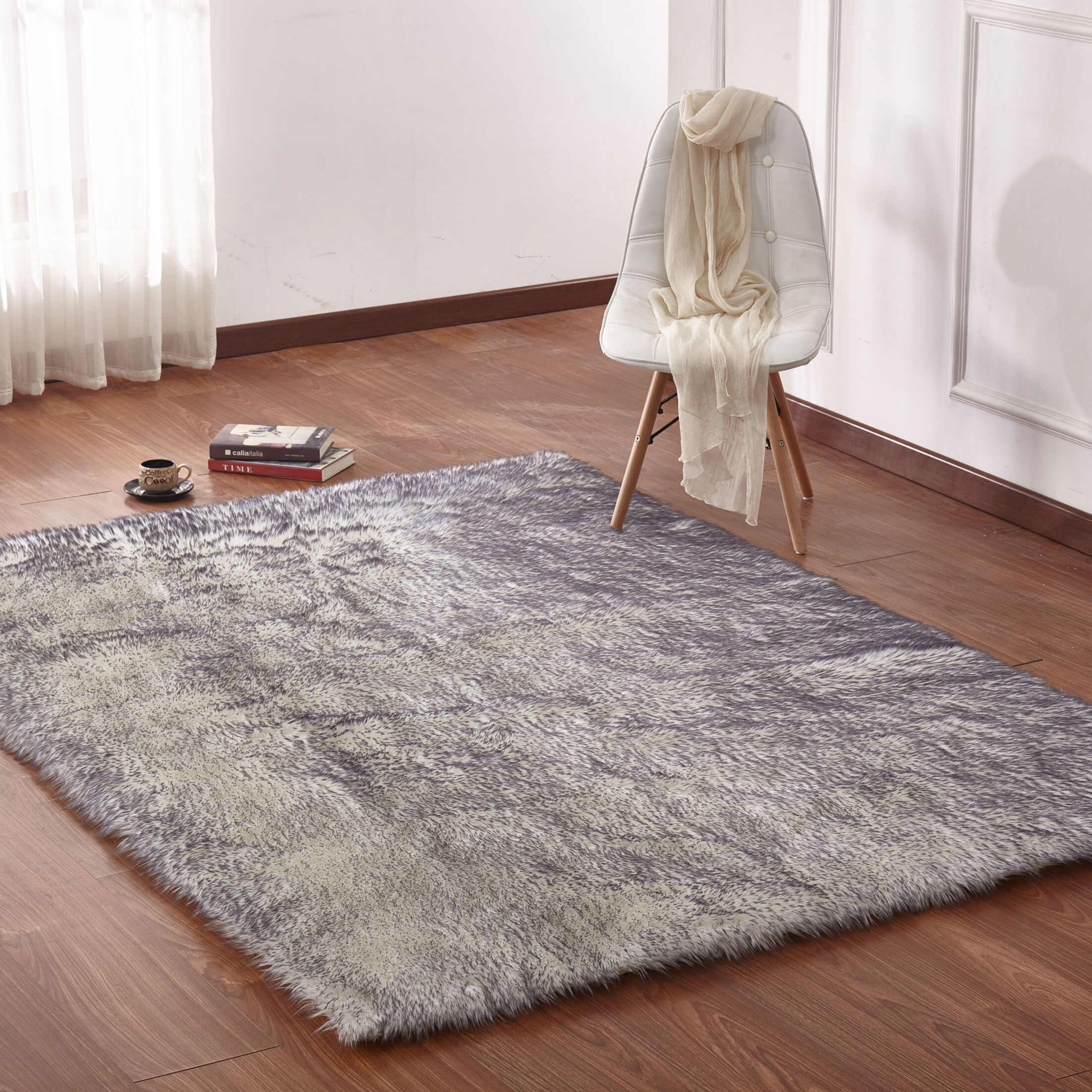 Leiker Hand-Woven Faux Fur White/Gray Area Rug Rug Size: Rectangle 7'6