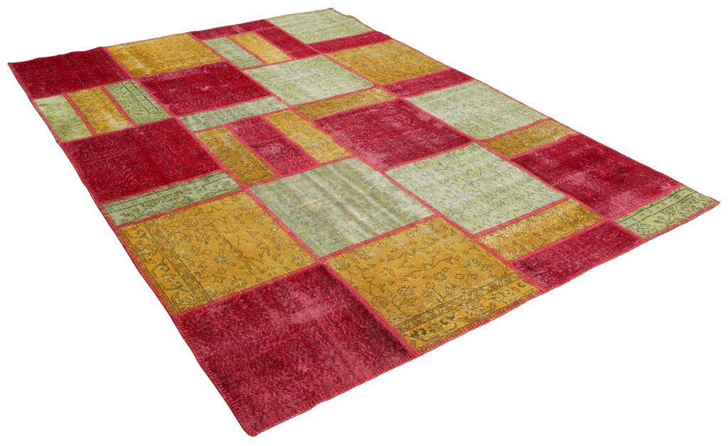 Kayla Patchwork Hand-Knotted Wool Pink/Yellow Area Rug