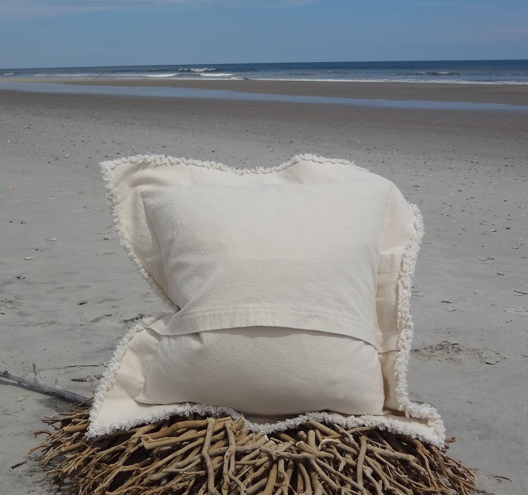 Orchard Coastal Frayed Sea Turtle Applique 100% Cotton Throw Pillow Size: 27