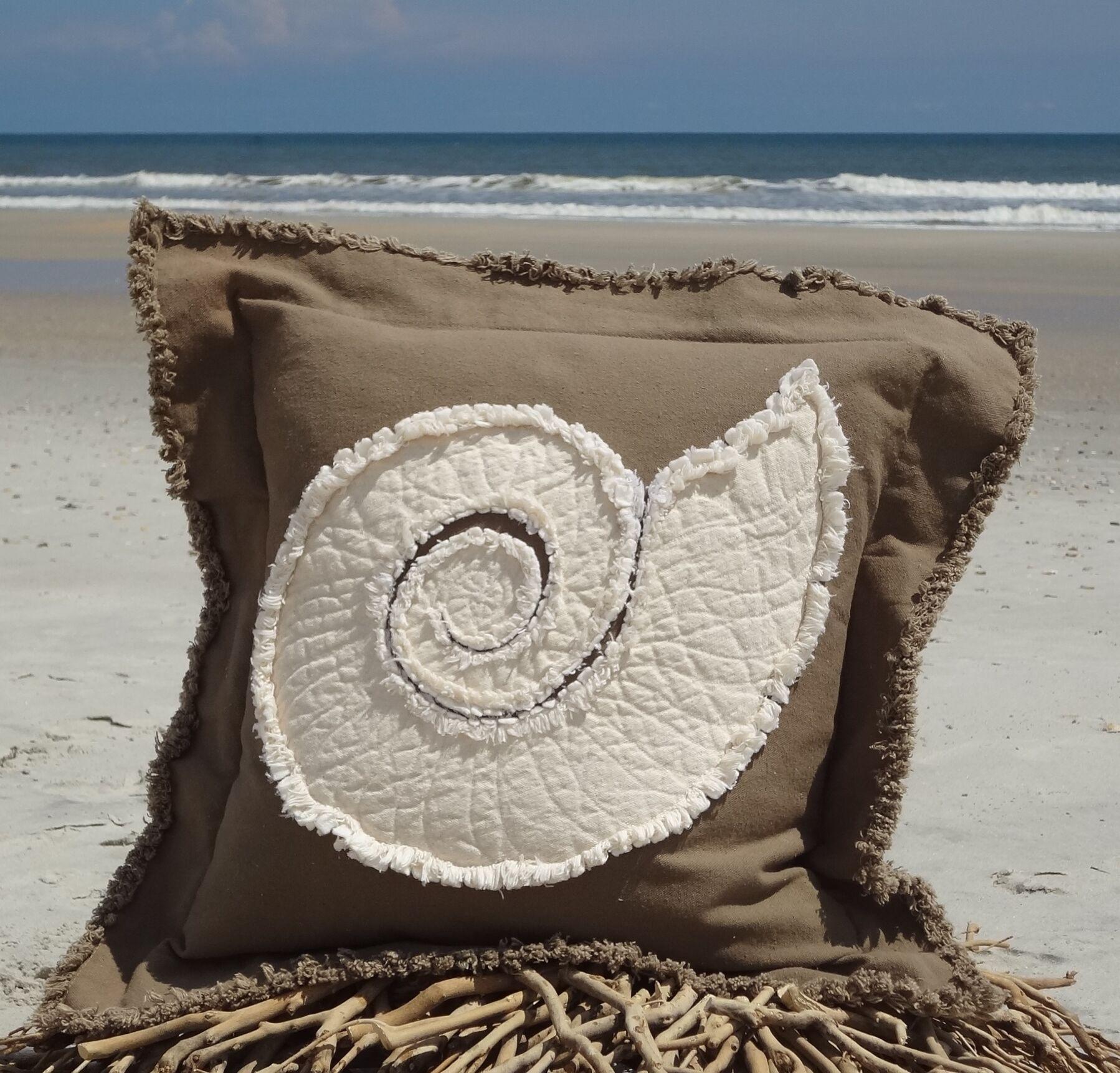 Southampton Coastal Frayed Nautilus Applique 100% Cotton Throw Pillow Size: 22