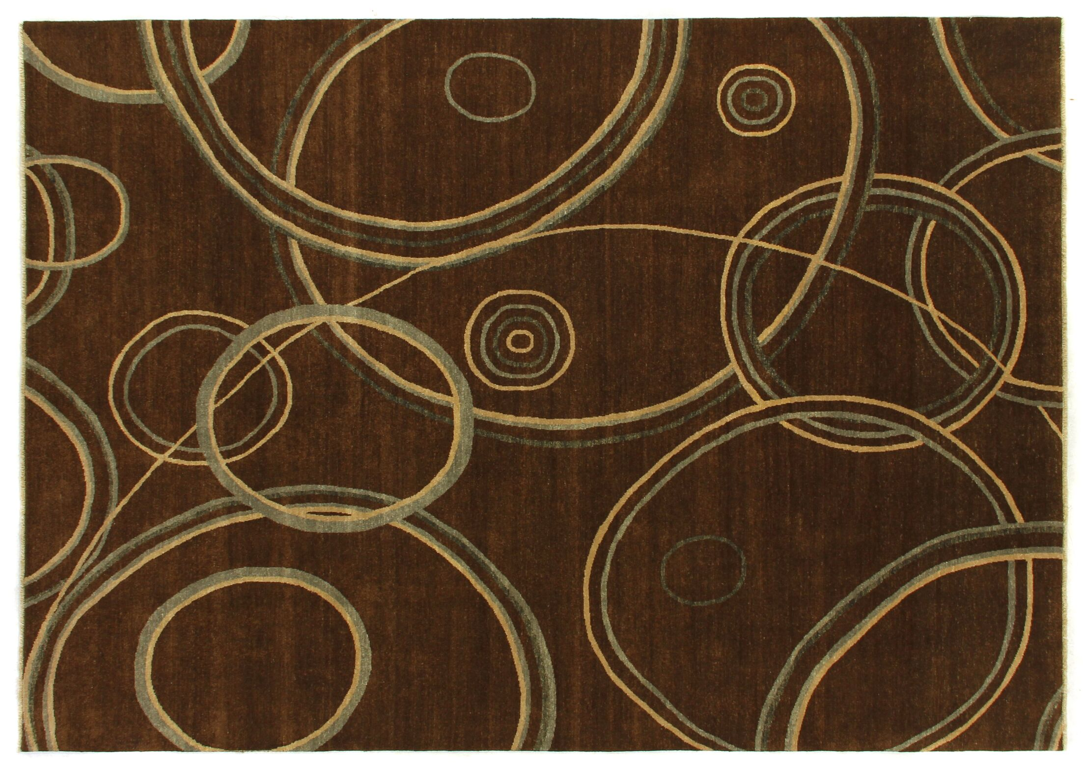 Metropolitan Hand-Knotted Wool Brown Area Rug Rug Size: Rectangle 9' x 12'