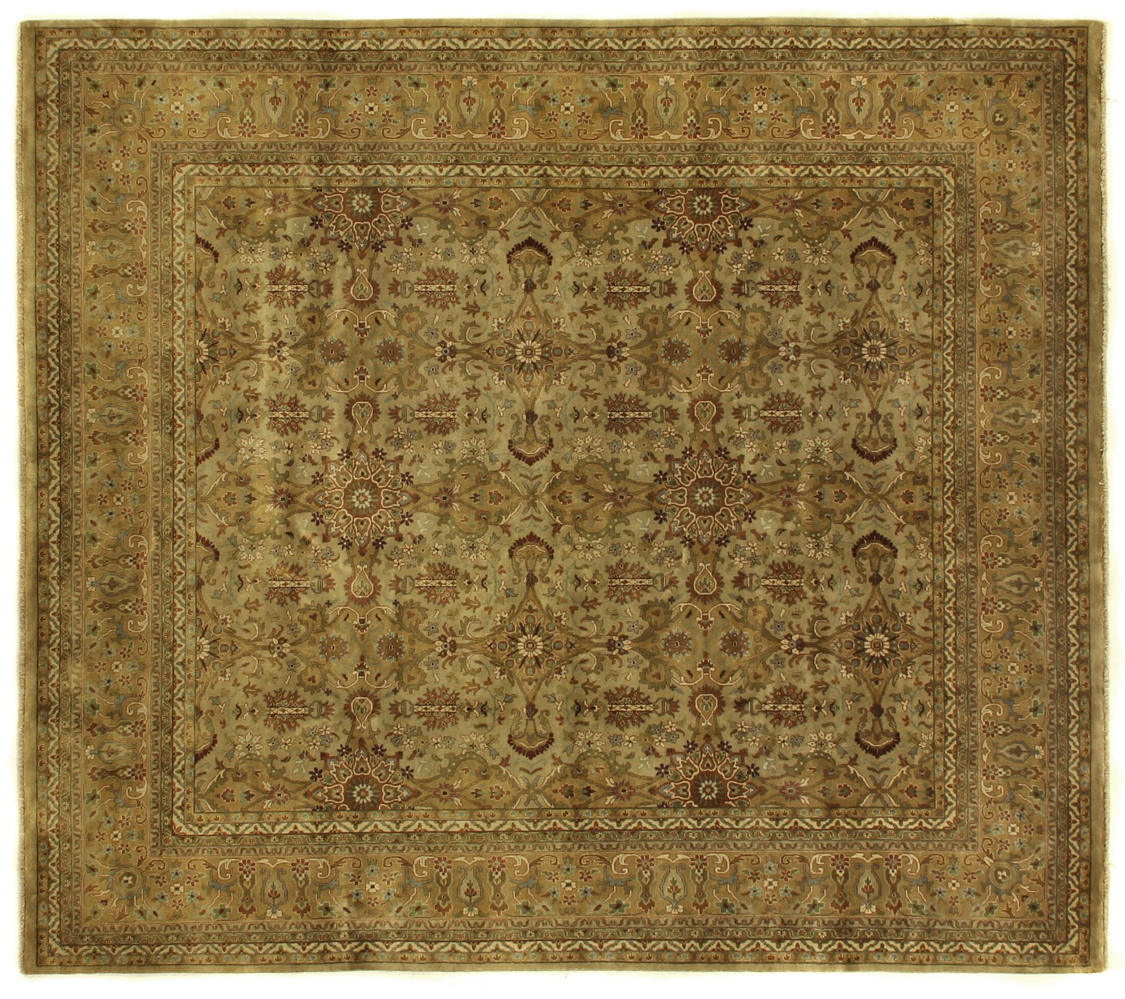 Agra Hand-Knotted Wool Gold/Ivory Area Rug Rug Size: Rectangle 12' x 18'