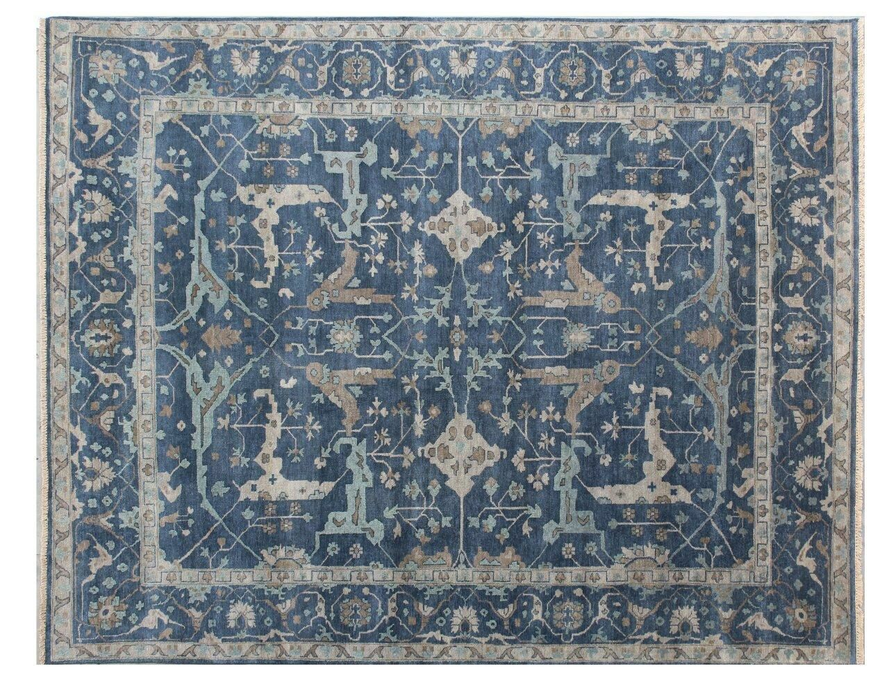 Oushak Hand Woven Wool Blue Area Rug Rug Size: Rectangle 12' x 15'