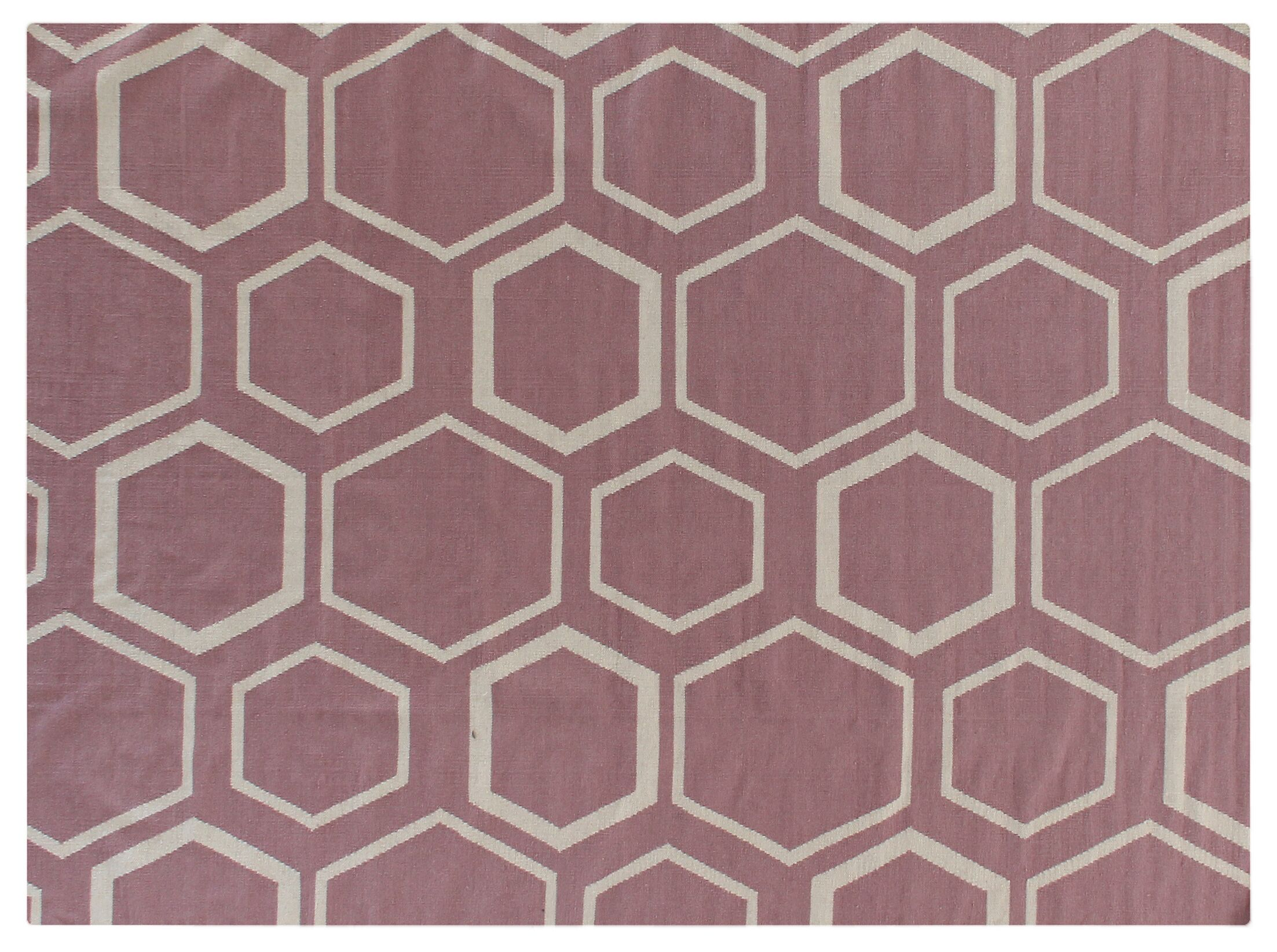 Hand-Woven Wool Pink/White Area Rug Rug Size: Rectangle 8' x 11'