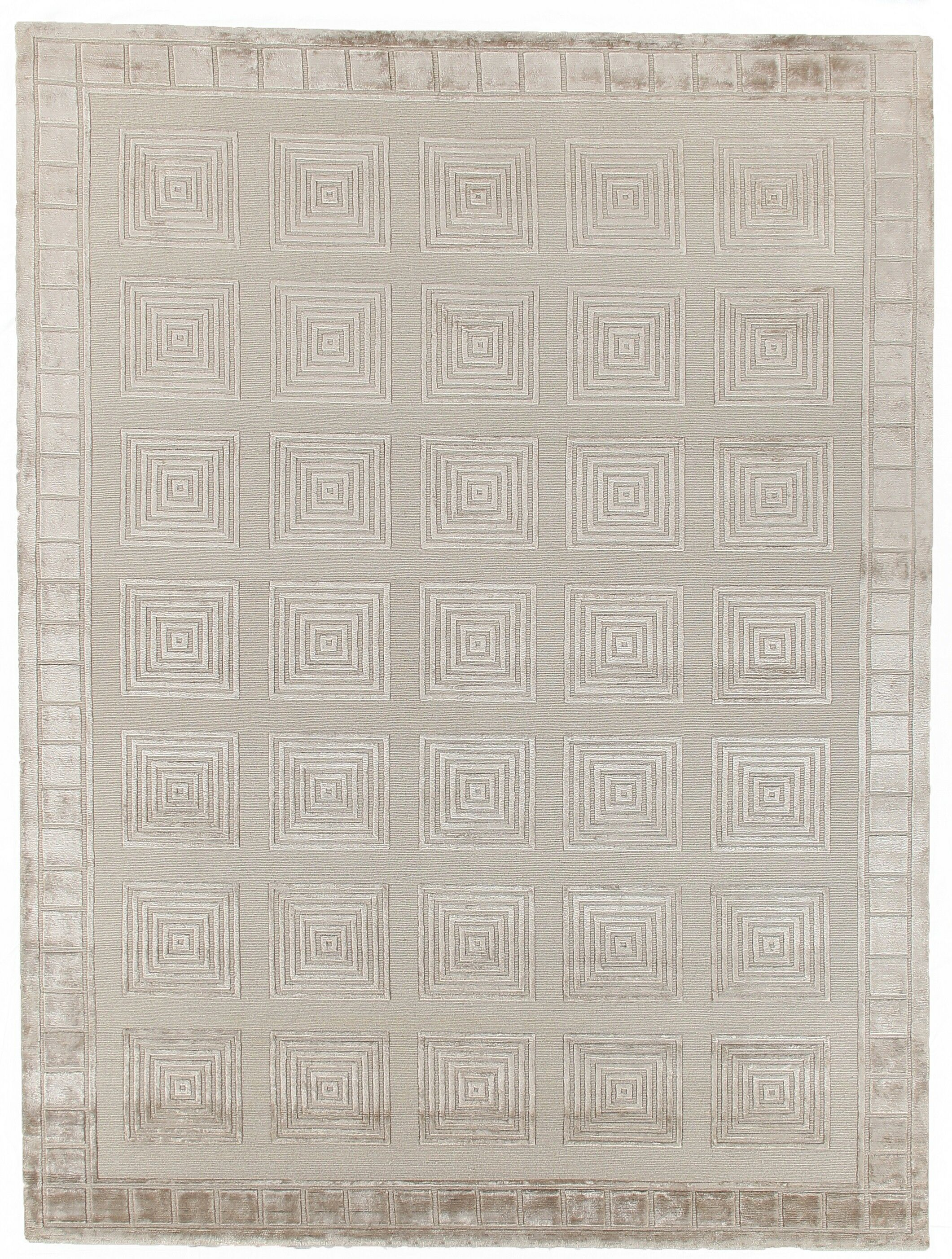 Hand-Knotted Wool Gray Area Rug Rug Size: Rectangle 8' x 10'