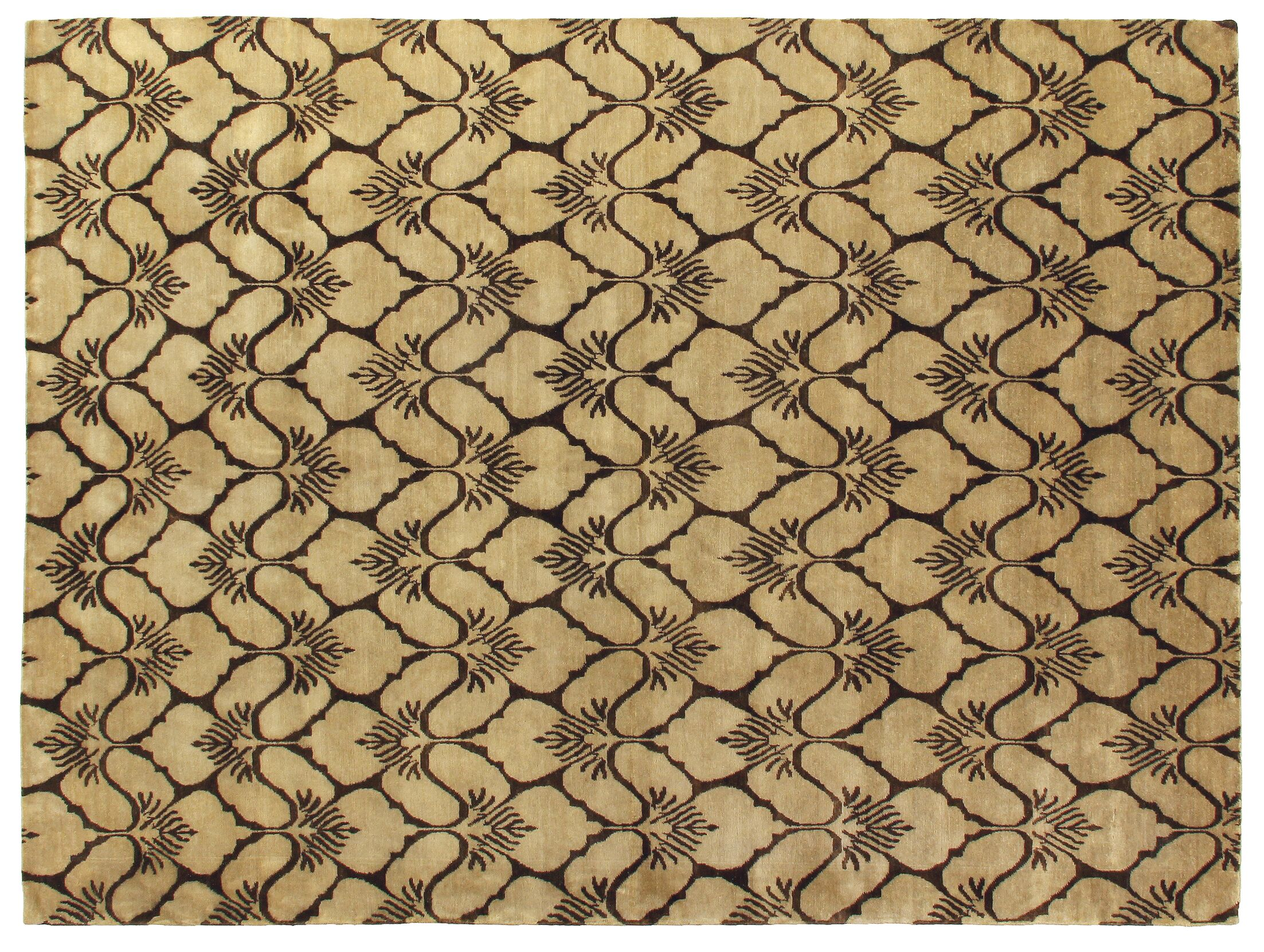 Metropolitan Hand Knotted Wool Brown/Ivory Area Rug Rug Size: Rectangle 6' x 9'