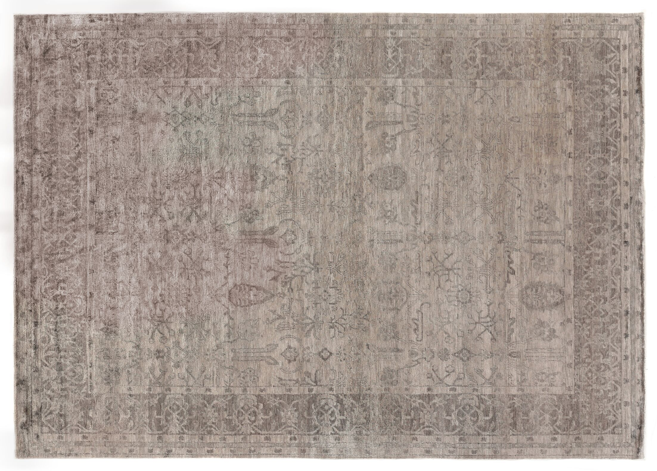 Antique'd Hand-Knotted Silk Silver Area Rug Rug Size: Rectangle 10' x 14'