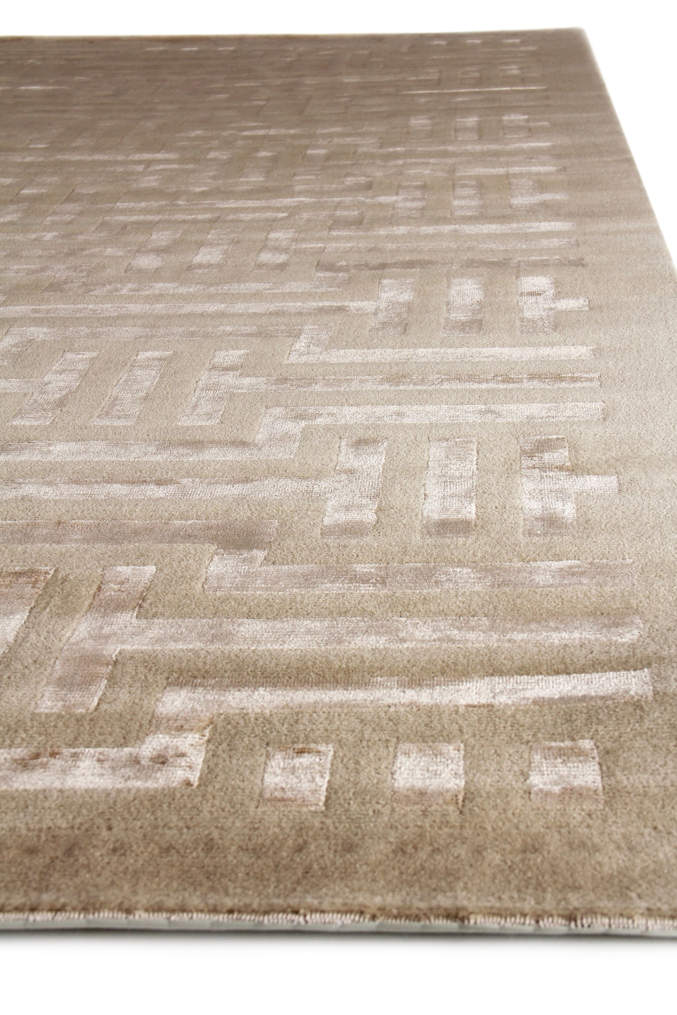 Super Tibetan Hand Knotted Wool/Silk Beige Area Rug Rug Size: Rectangle 8' x 10'