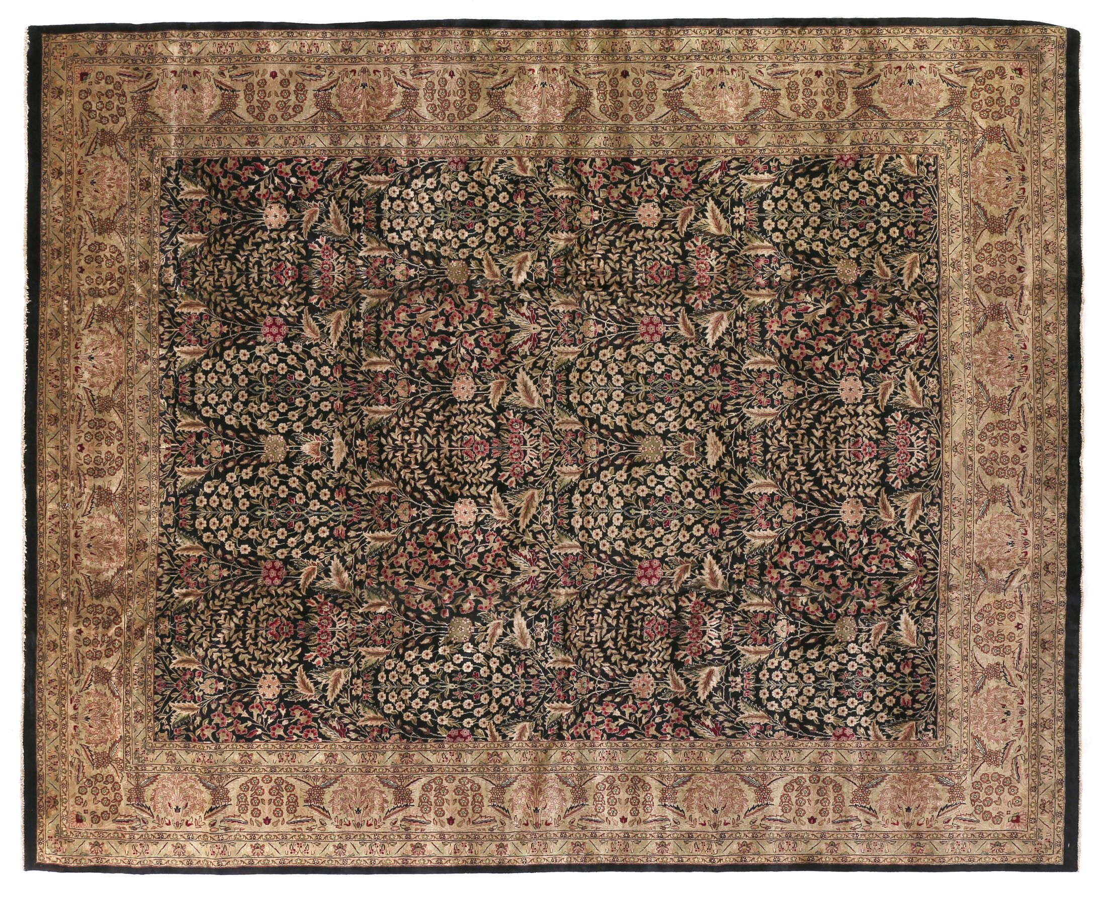 Traditional Hand-Knotted Wool Black/Green Area Rug Rug Size: Rectangle 14' x 18'