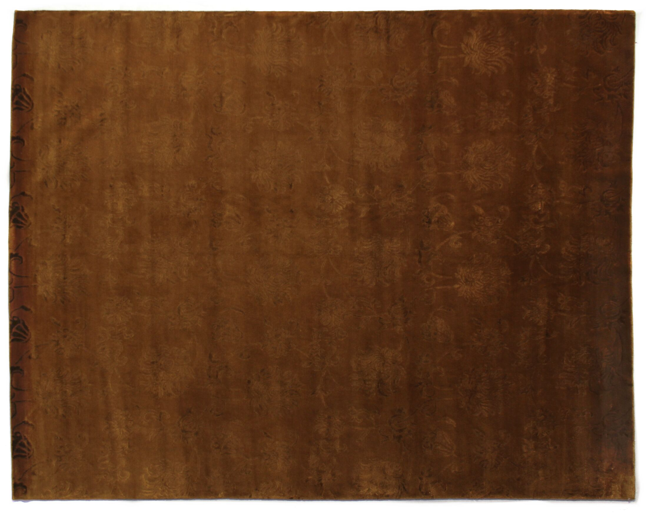 Super Tibetan Hand-Knotted Terracotta Area Rug Rug Size: Rectangle 9' x 12'