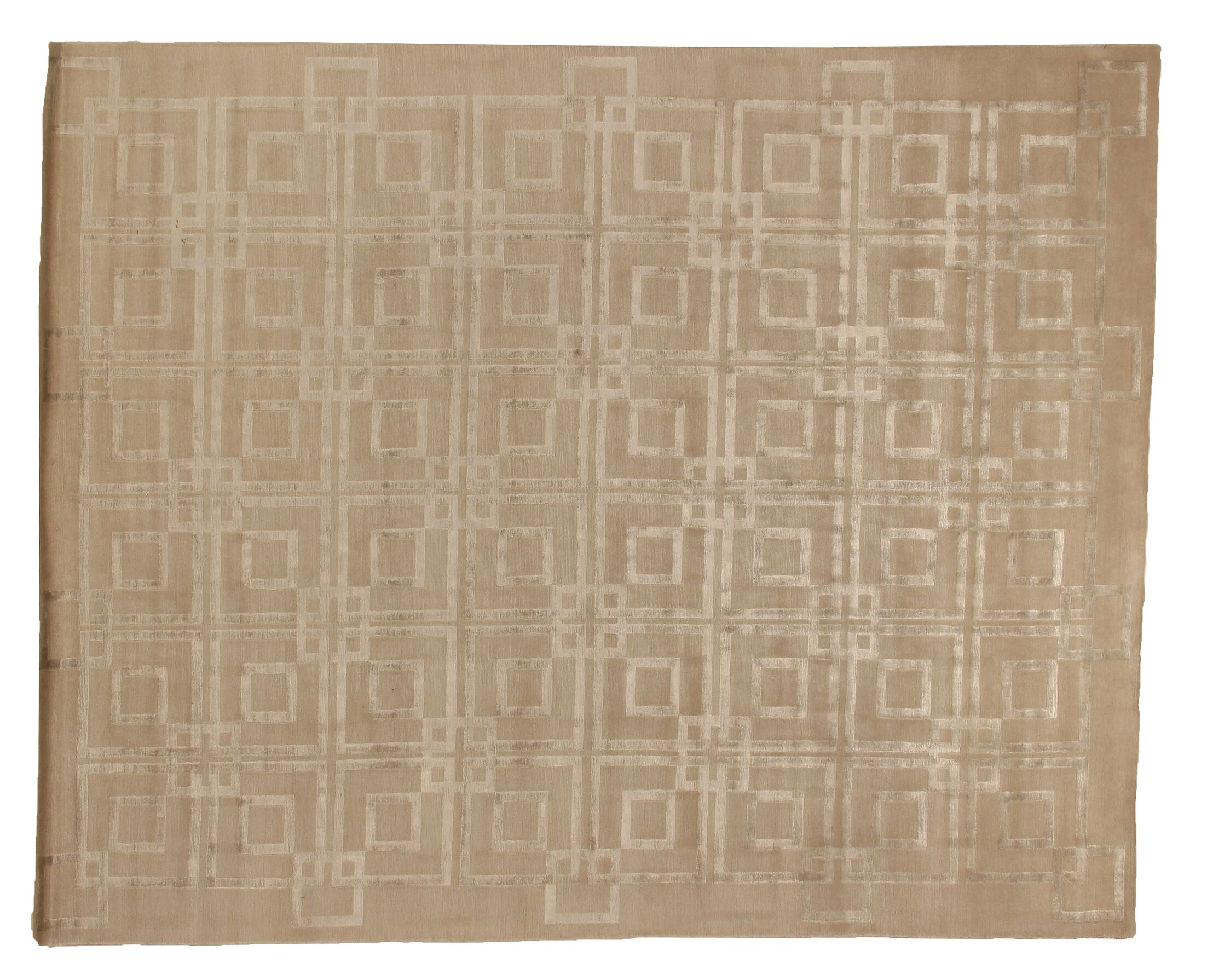 Hand-Knotted Wool/Silk Beige Area Rug Rug Size: Rectangle 4' x 6'