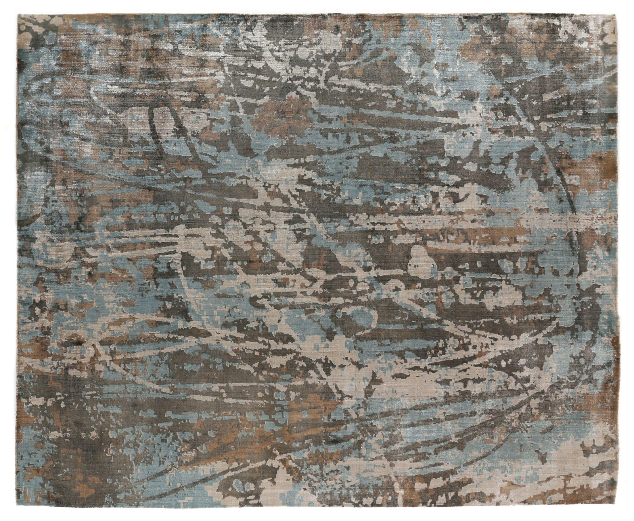 Koda Hand-Woven Blue/Brown Area Rug Rug Size: Rectangle 8' x 10'