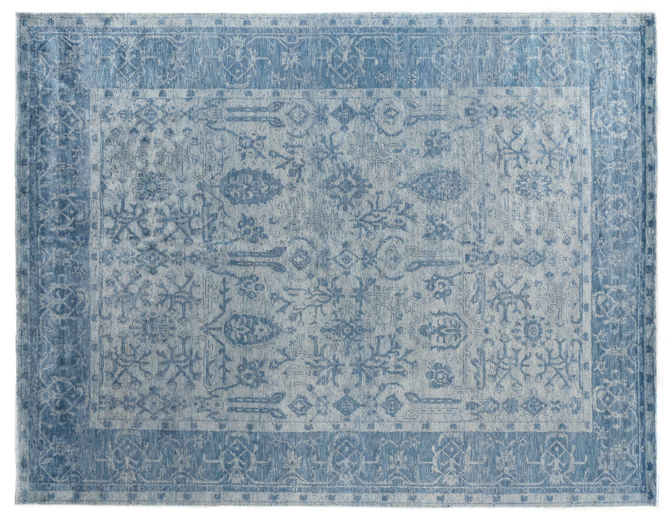 Antique'd Hand-Knotted Silk Ivory/Aqua Area Rug Rug Size: Rectangle 14' x 18'