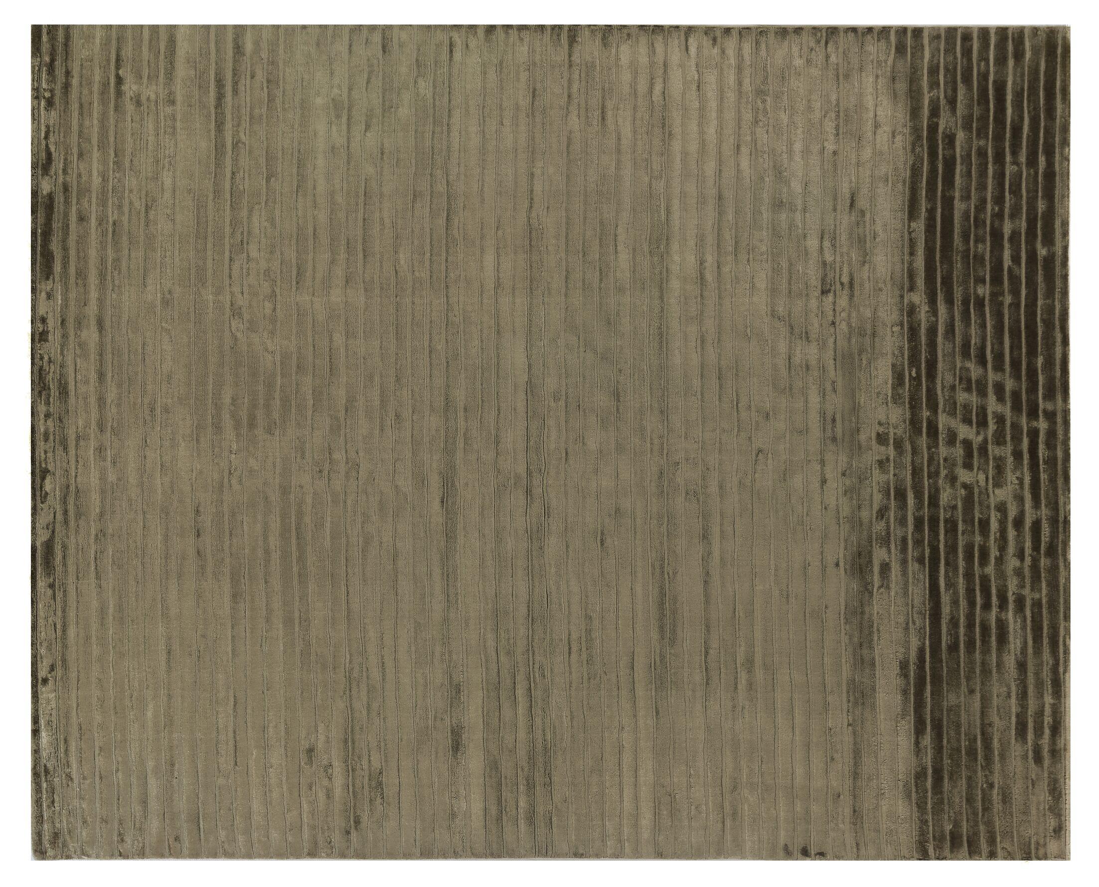 Wave Art Hand-Woven Silk Gray Area Rug Rug Size: Rectangle 4' x 6'