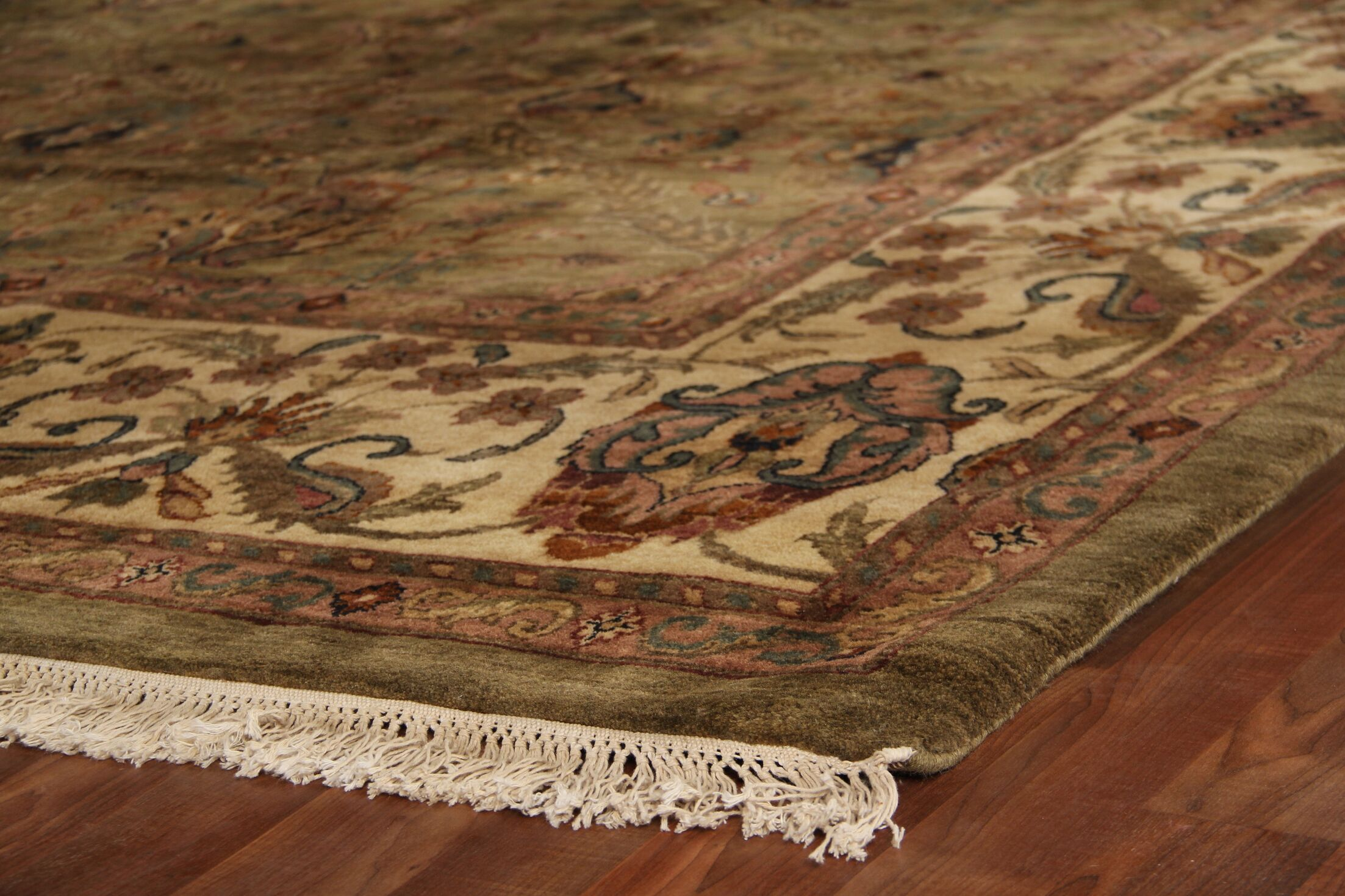 Moghul Hand-Knotted Wool Light Green/Gold Area Rug Rug Size: Rectangle 14' x 18'