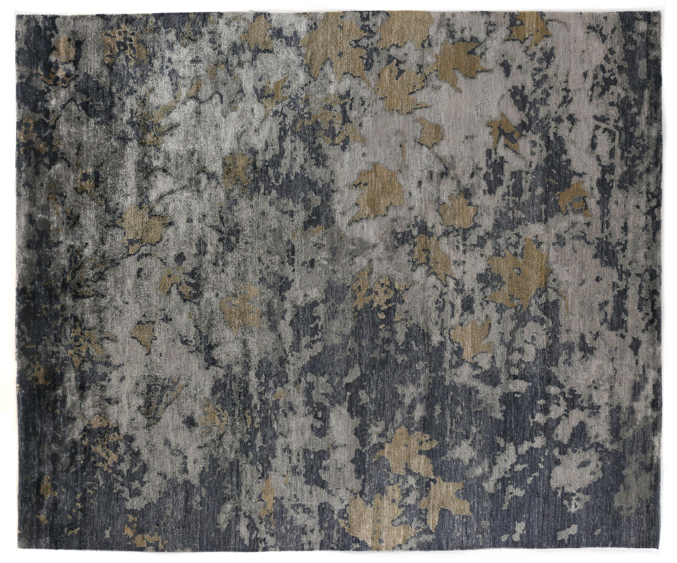 Abstract Expressions Hand-Knotted Silk Dark Gray/Black Area Rug Rug Size: Rectangle 9' x 12'
