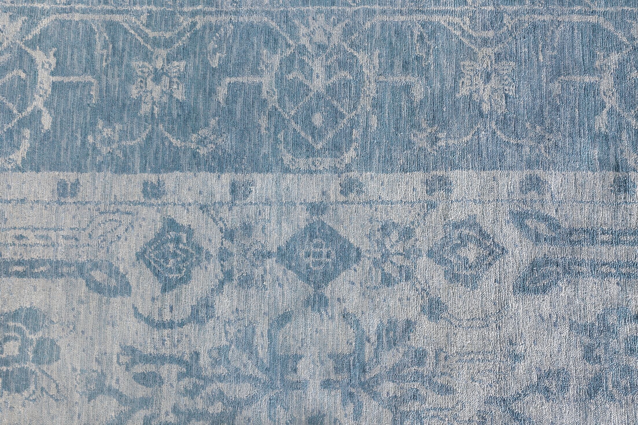 Antique'd Hand-Knotted Silk Ivory/Aqua Area Rug Rug Size: Rectangle 10' x 14'