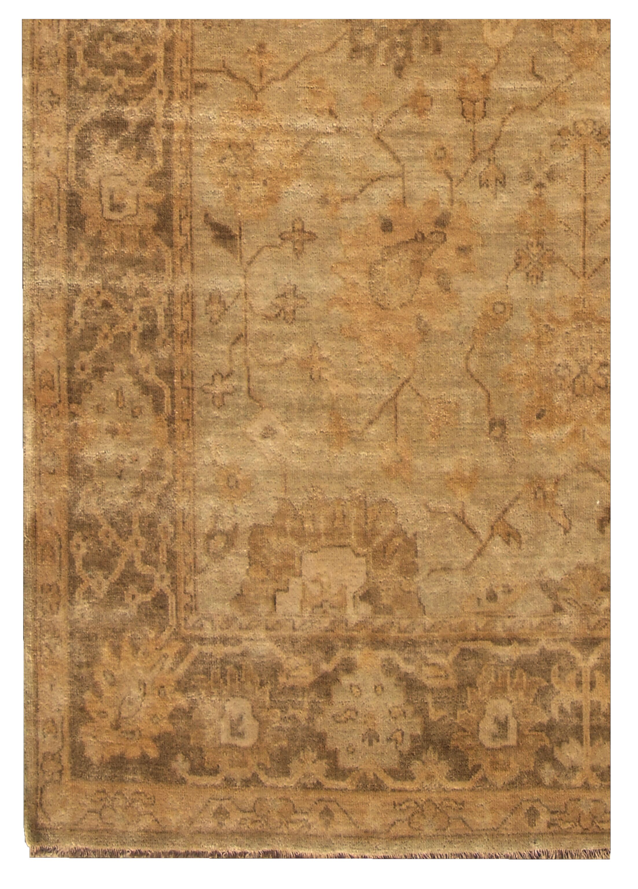 Oushak Hand-Knotted Wool Brown/Gray Area Rug Rug Size: Rectangle 9' x 12'