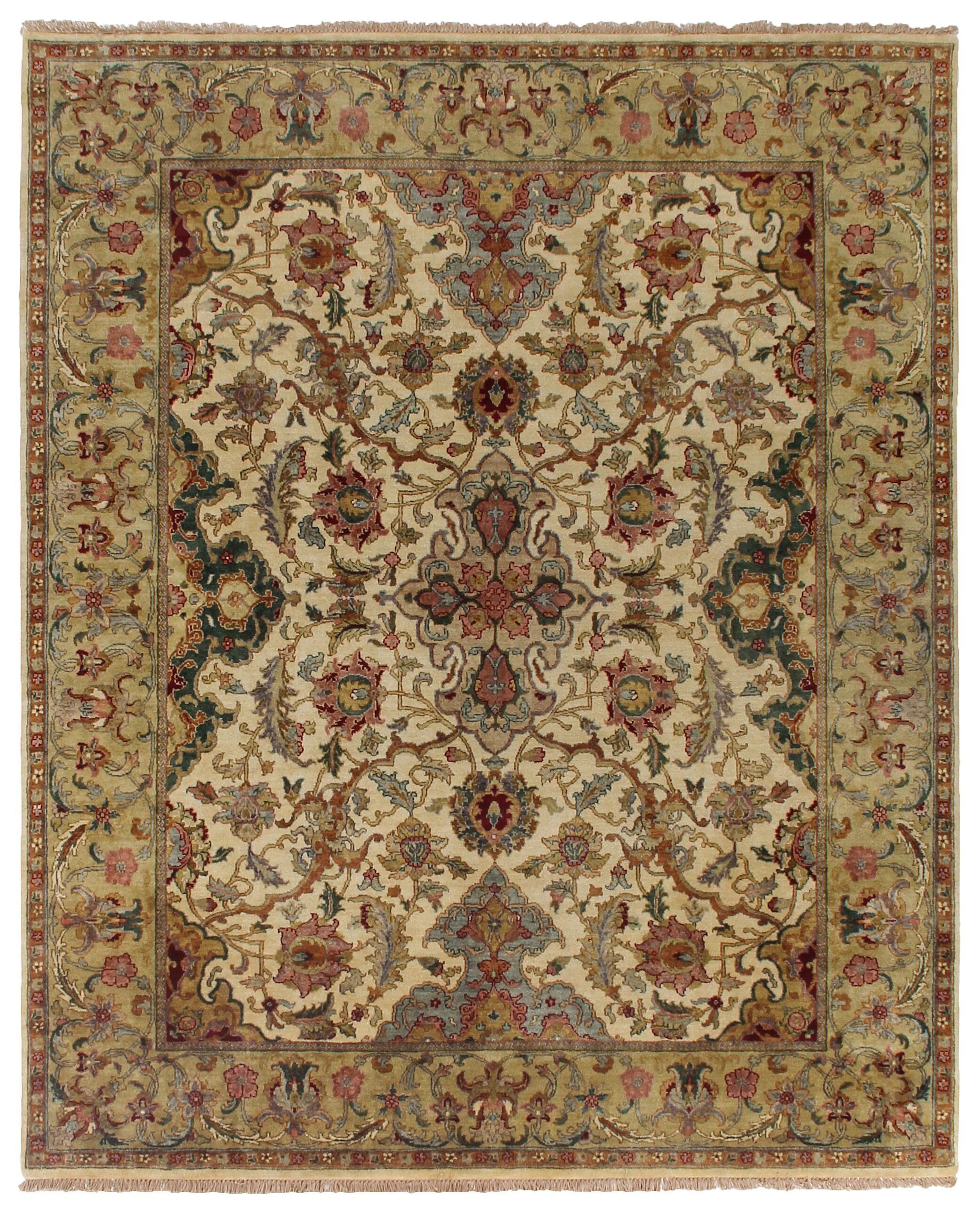 Polonaise Hand Knotted Wool Cream/Brown Area Rug Rug Size: Rectangle 14' x 18'