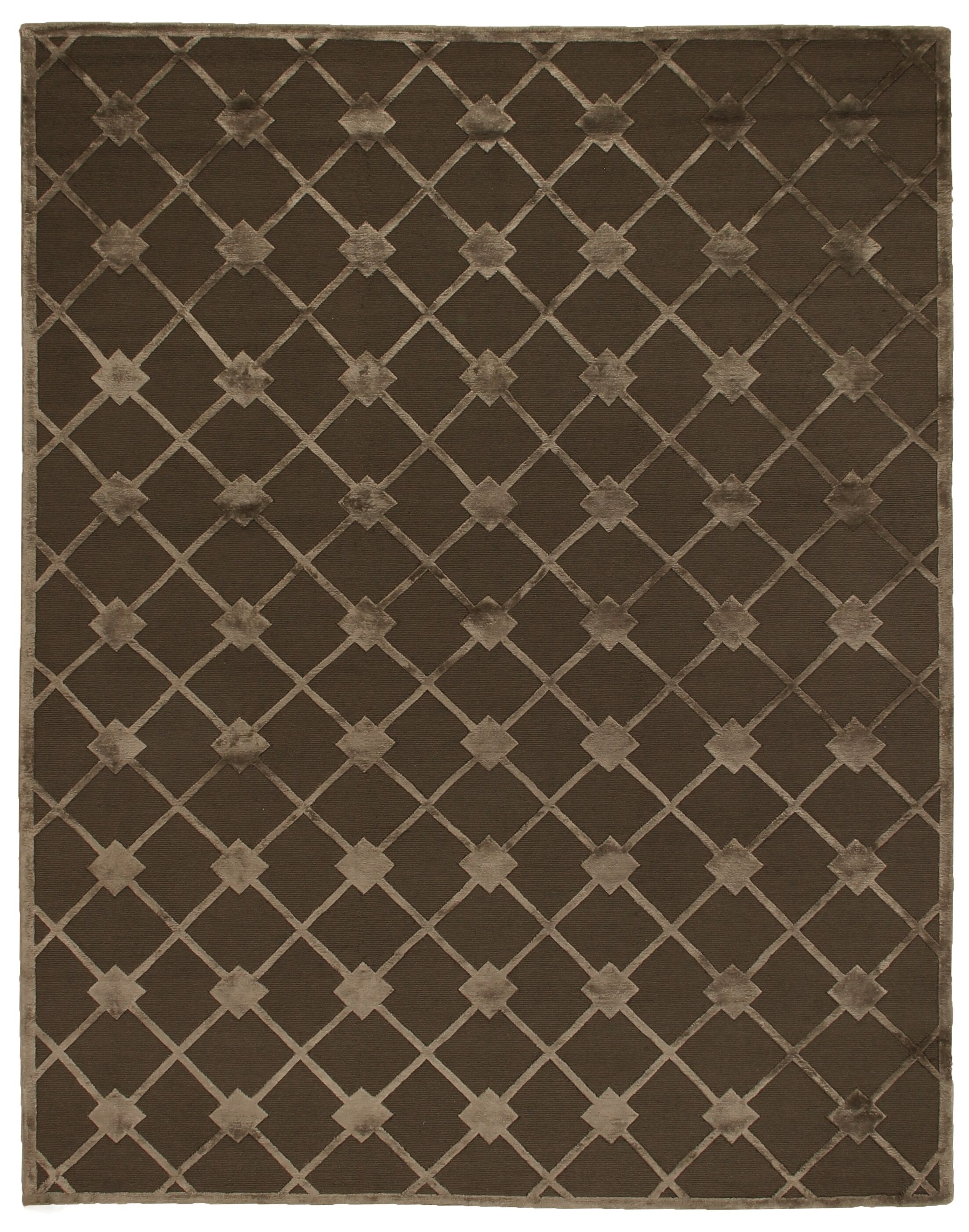 Hand-Knotted Wool/Silk Khaki/Gray Area Rug Rug Size: Rectangle 9' x 12'