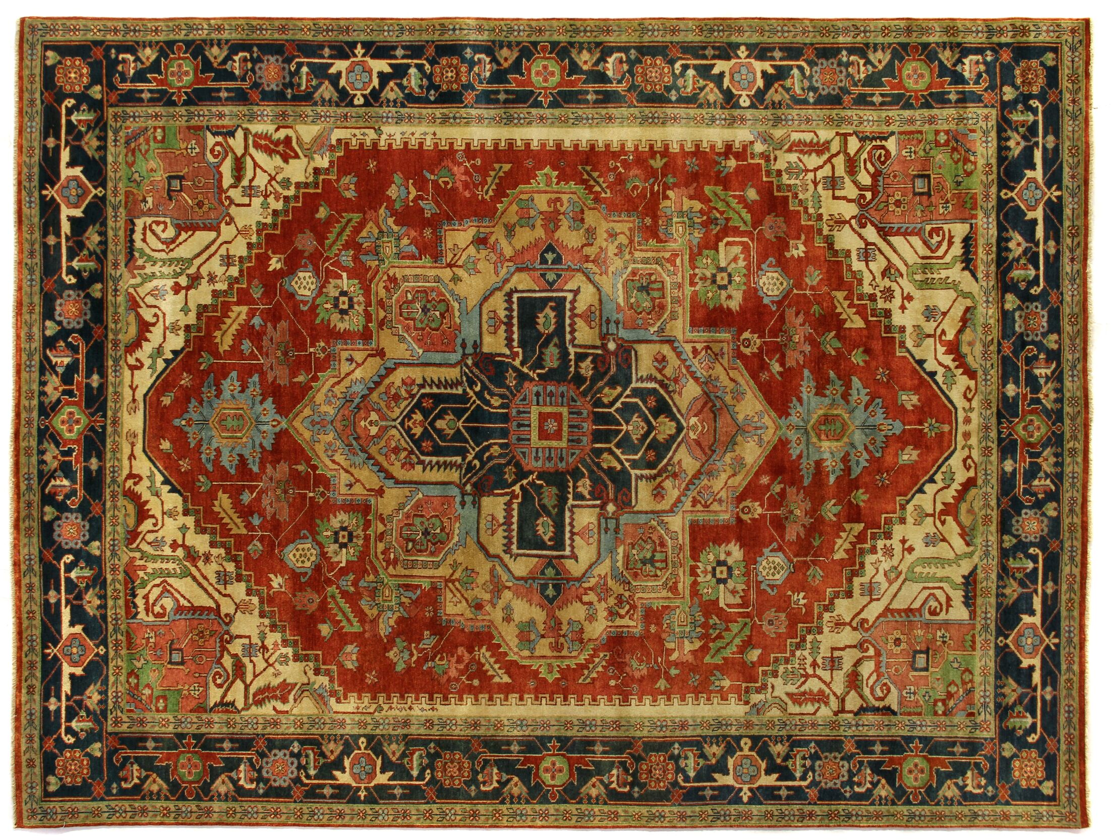 Serapi Hand-Knotted Wool Red/Black Area Rug Rug Size: Rectangle 14' x 18'