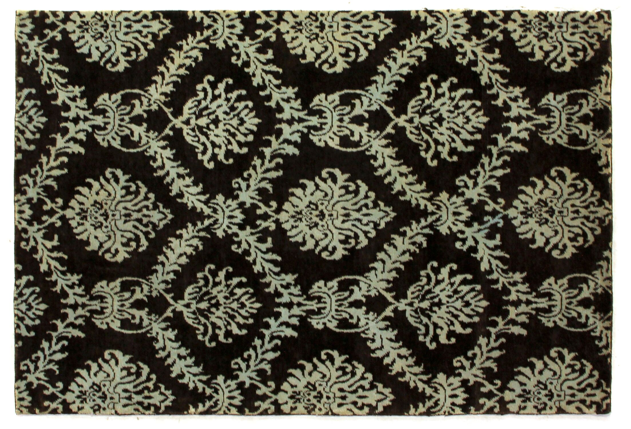 Metropolitan Hand Knotted Wool Brown/Light Blue Area Rug Rug Size: Rectangle 6' x 9'