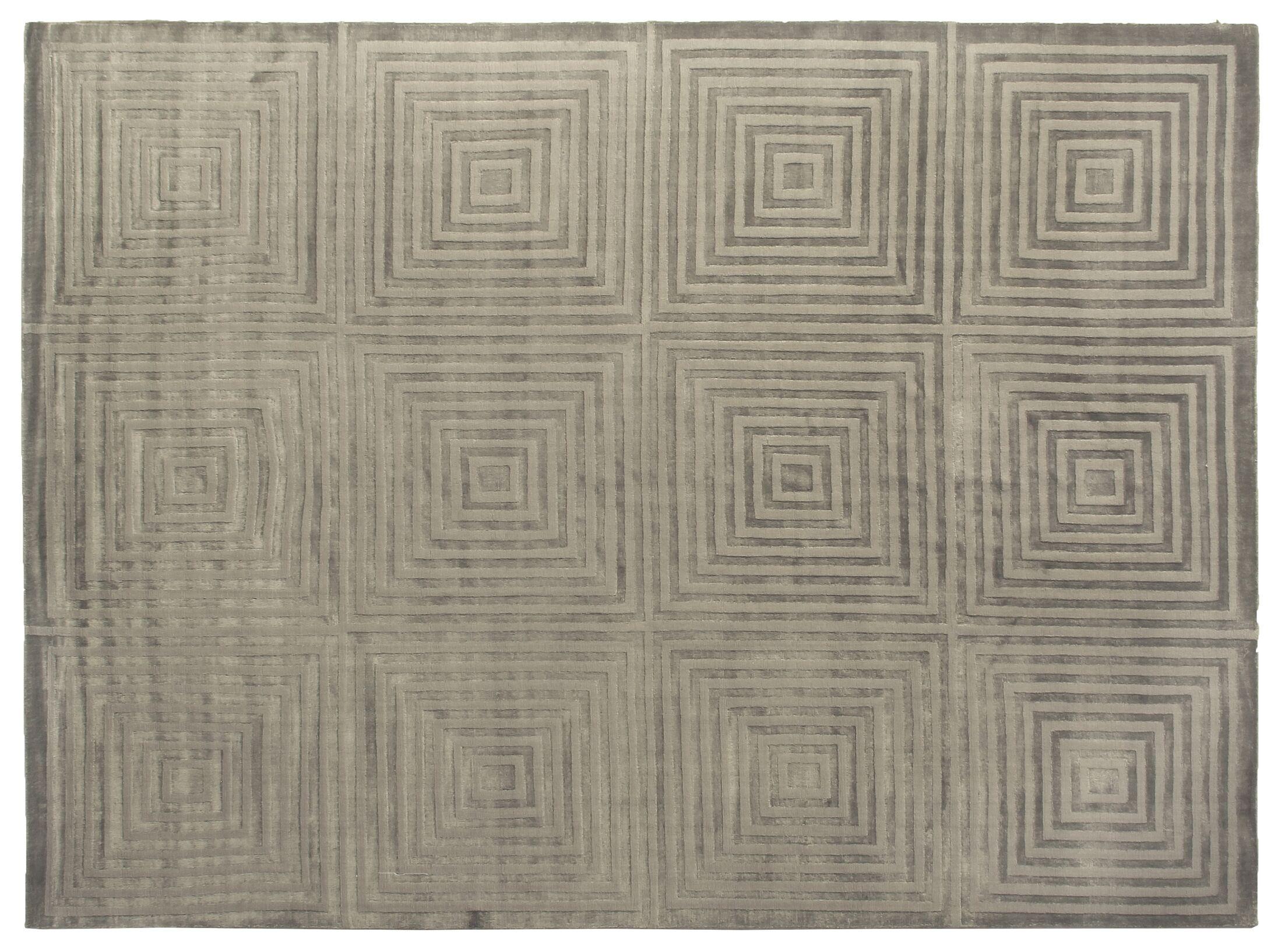 Embossed Hand Woven Silk Dark Gray Area Rug Rug Size: Rectangle 9' x 12'