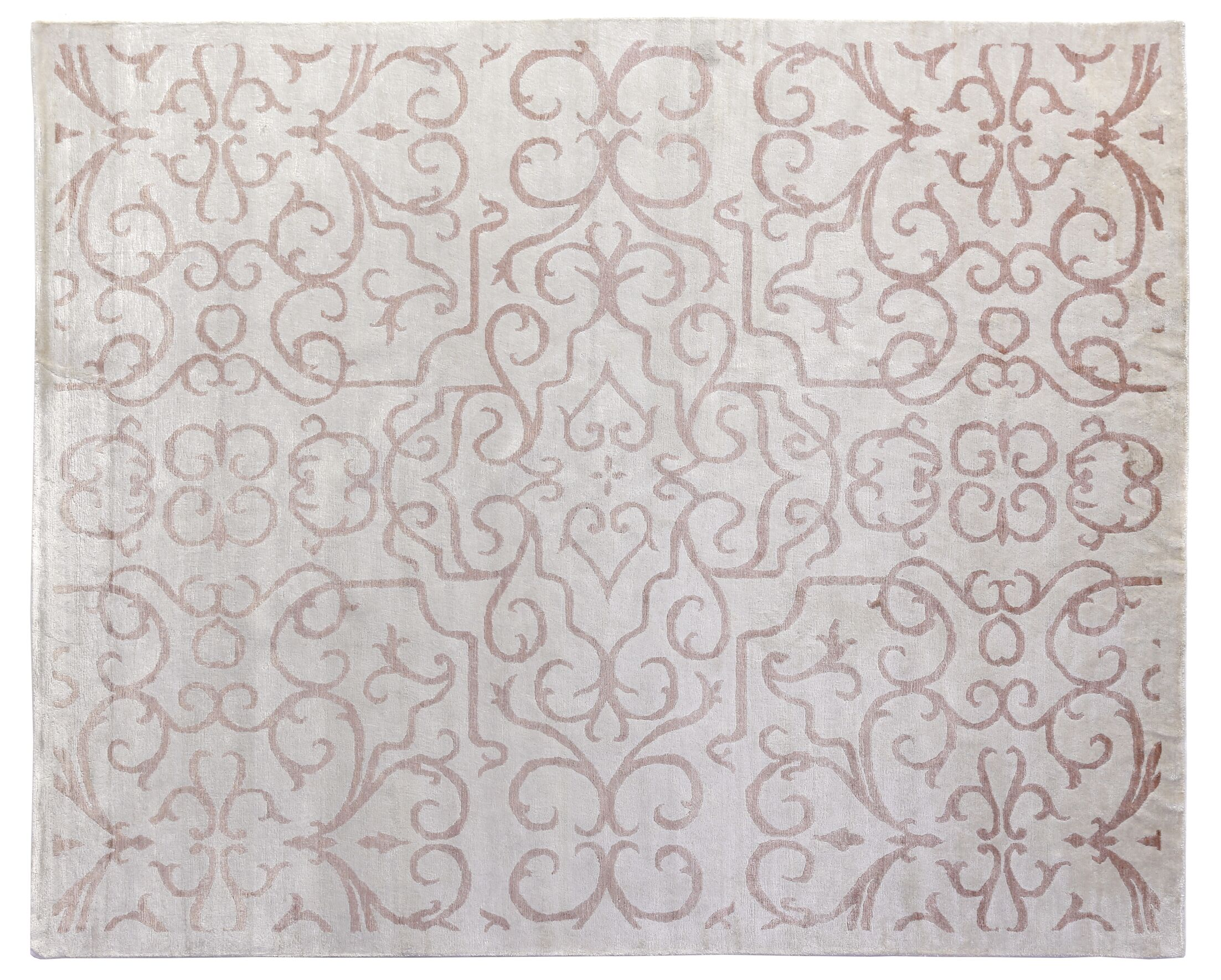 Hand-Knotted Light Pink Area Rug Rug Size: Rectangle 9' x 12'