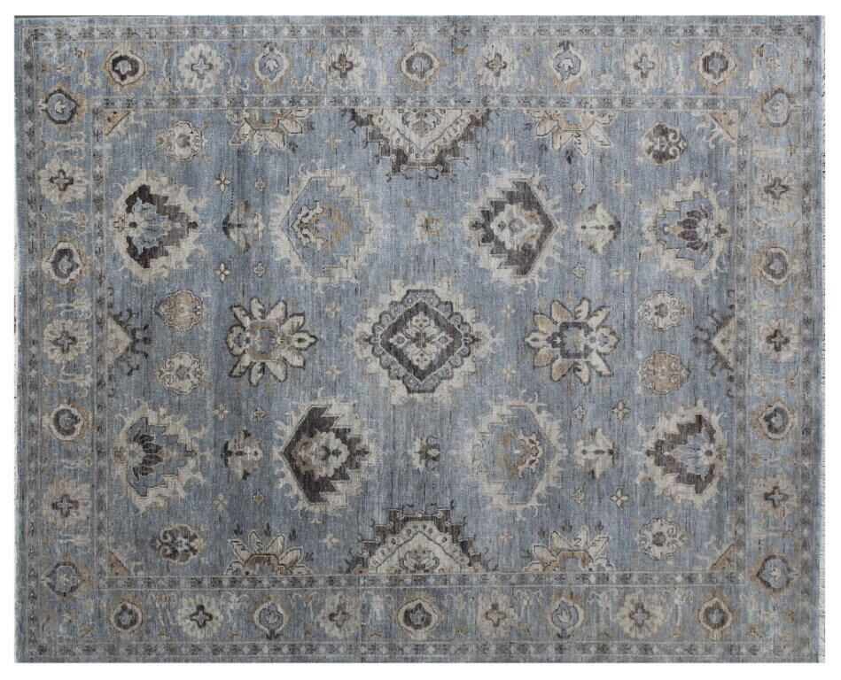 Oushak Hand-Knotted Wool Blue/Gray Area Rug Rug Size: Rectangle 10' x 14'