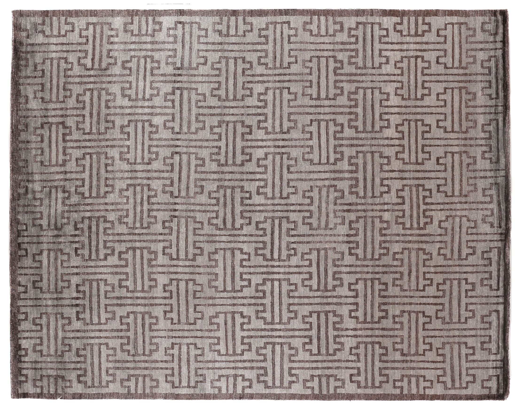 Hand-Knotted Silk Dark Gray Area Rug Rug Size: Rectangle 14' x 18'