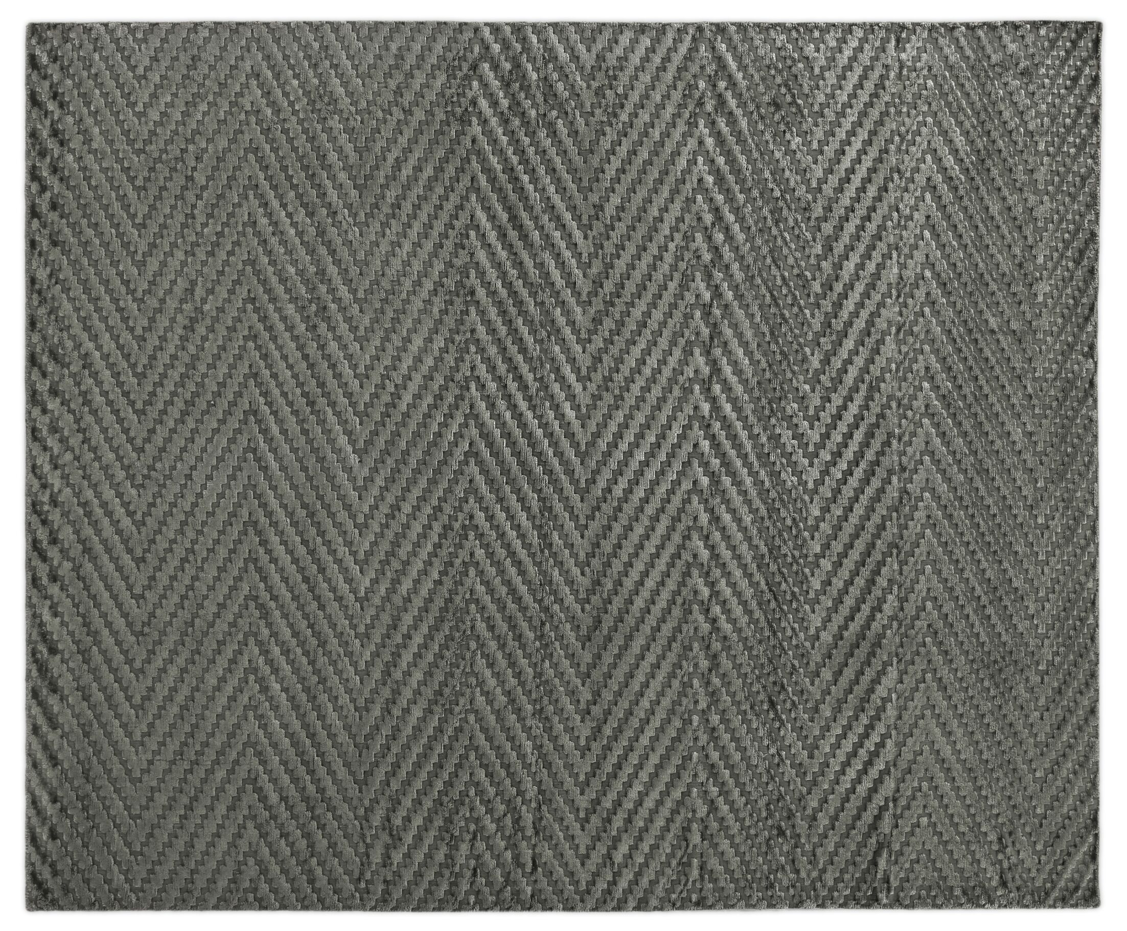 Kingsley Hand-Knotted Silk Dark Gray Area Rug Rug Size: Rectangle 9' x 12'