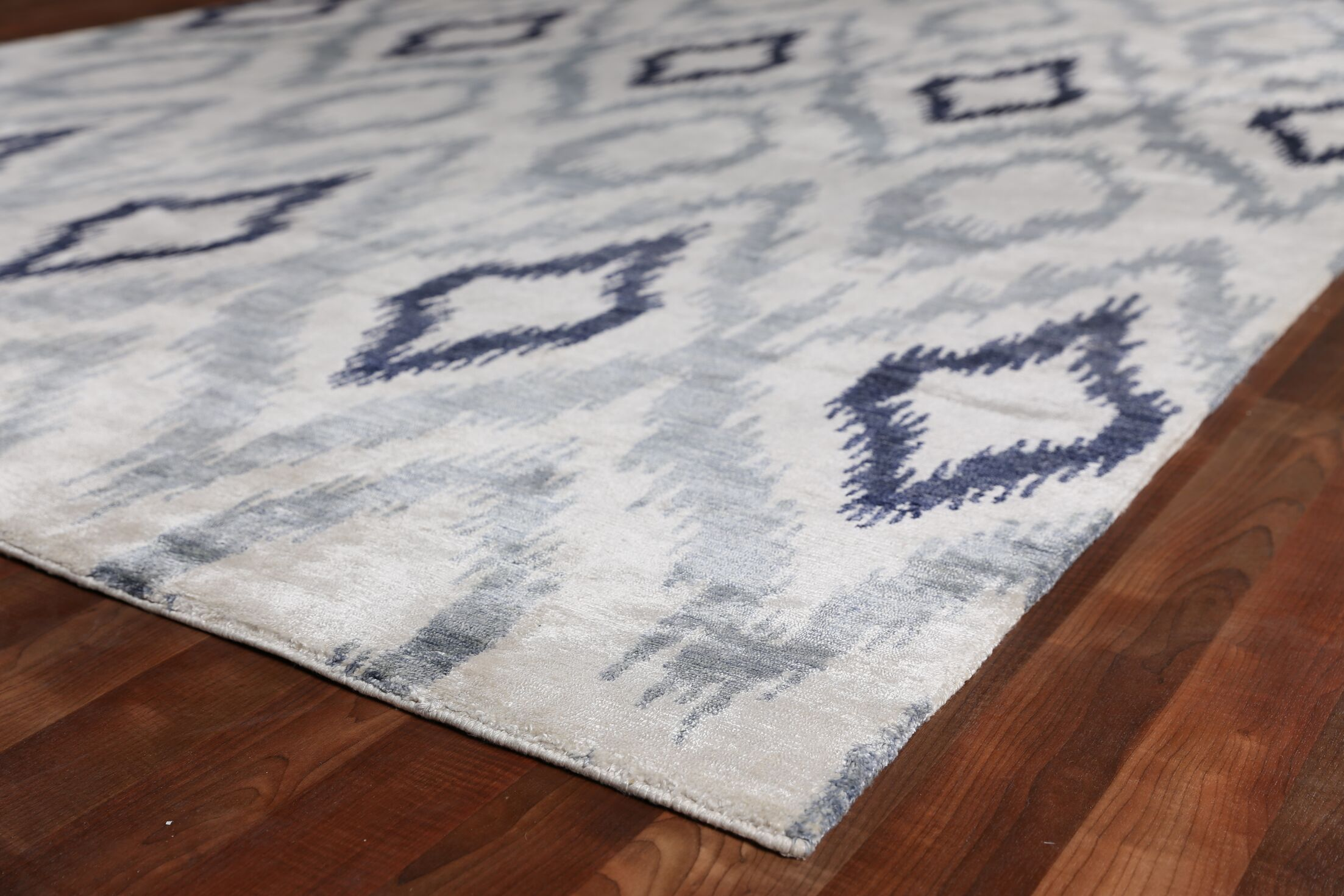 Ikat Hand-Knotted Silk Blue/Gray Area Rug Rug Size: Rectangle 12' x 15'