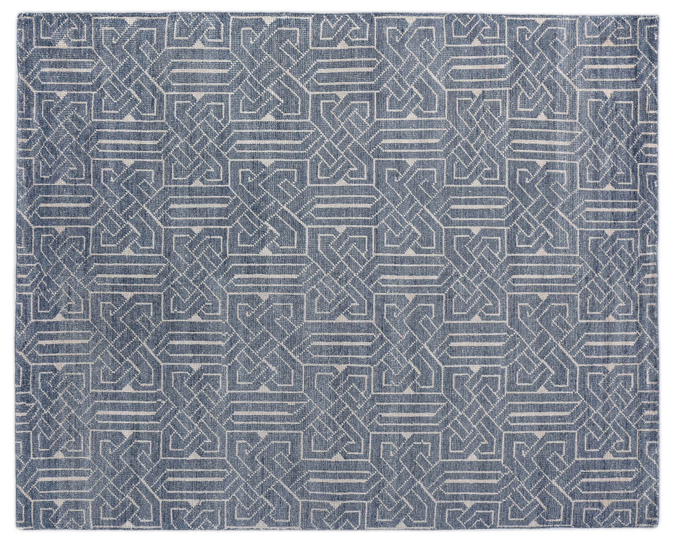 Prague Hand-knotted Indigo Area Rug Rug Size: Rectangle 9' x 12'