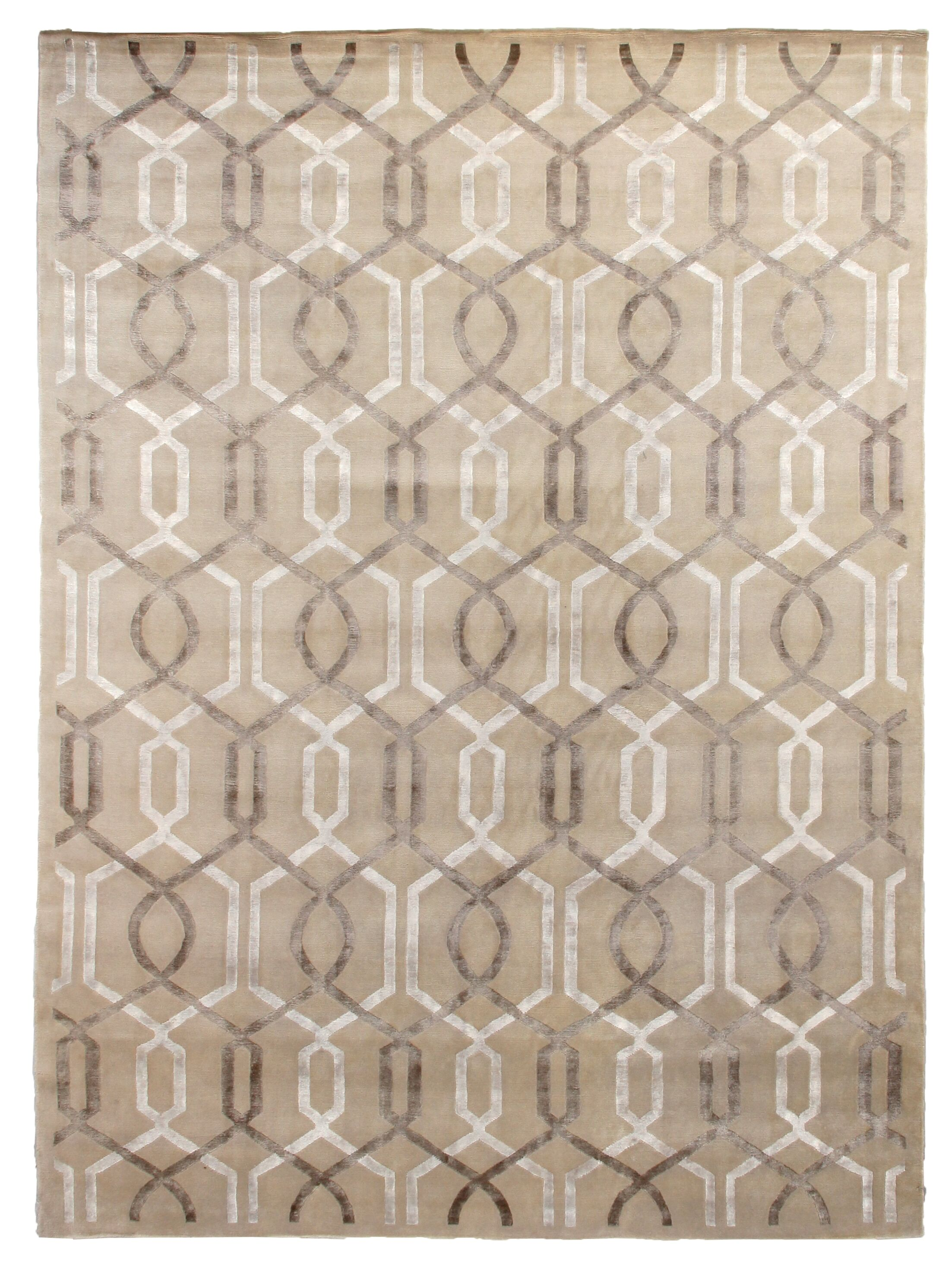 Hand-Knotted Wool/Silk Beige Area Rug Rug Size: Rectangle 9' x 12'