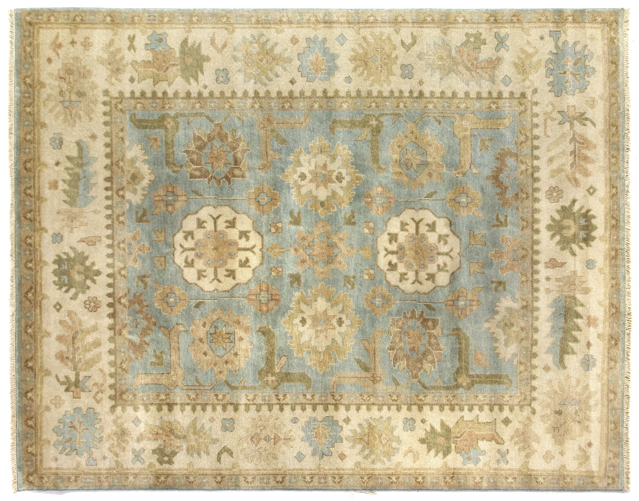 Oushak Hand Woven Wool Beige/Blue Area Rug Rug Size: Rectangle 12' x 15'