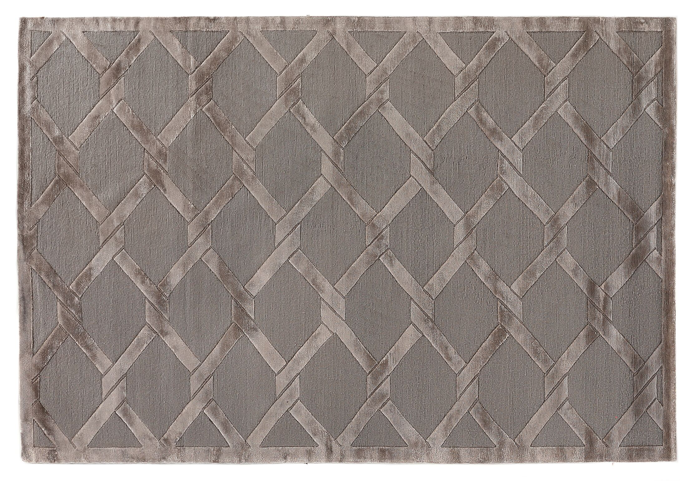 Hand-Knotted Wool/Silk Dark Gray/Brown Area Rug Rug Size: Rectangle 6' x 9'