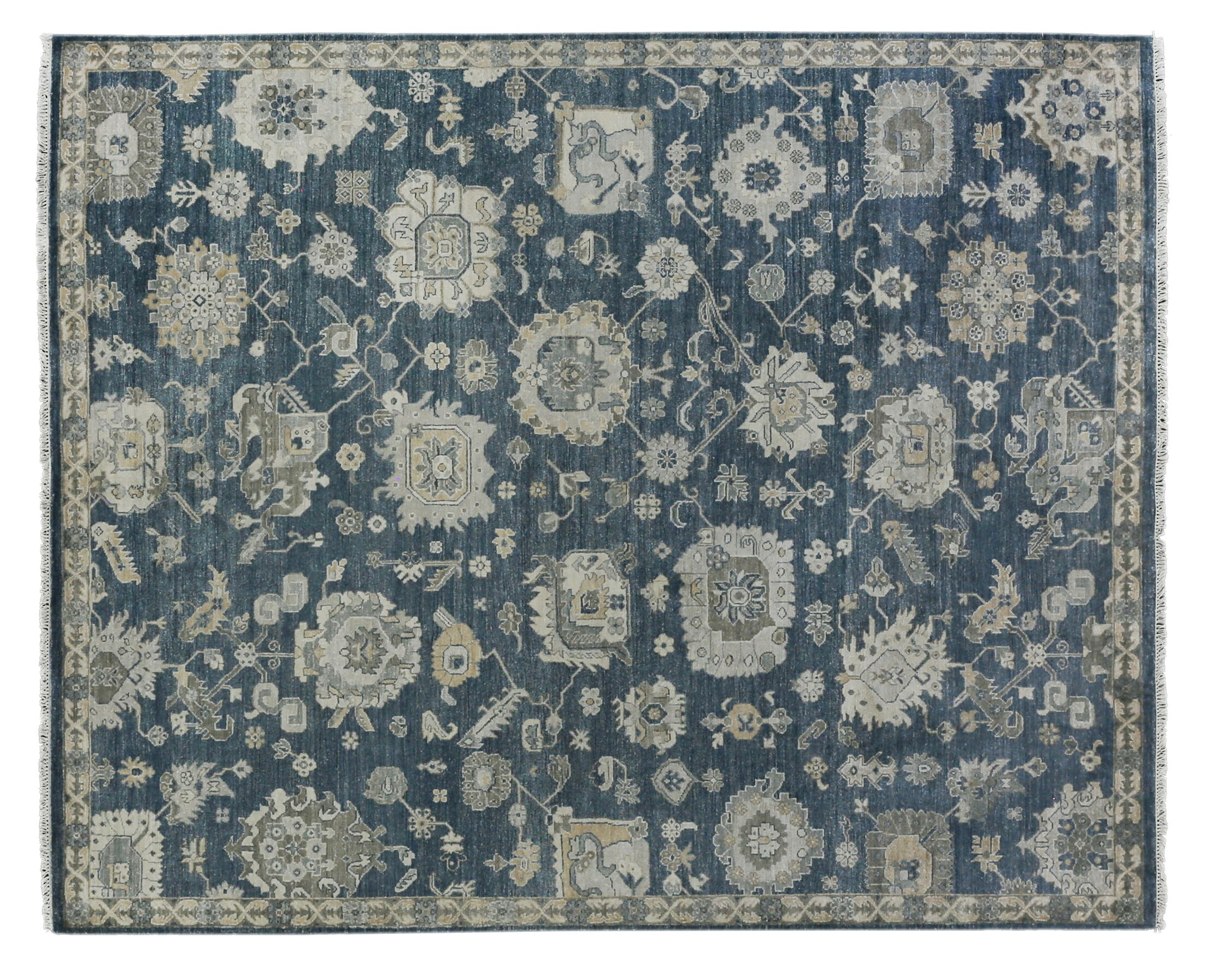 Museum Hand-Knotted Navy/Beige Area Rug Rug Size: Rectangle 8' x 10'