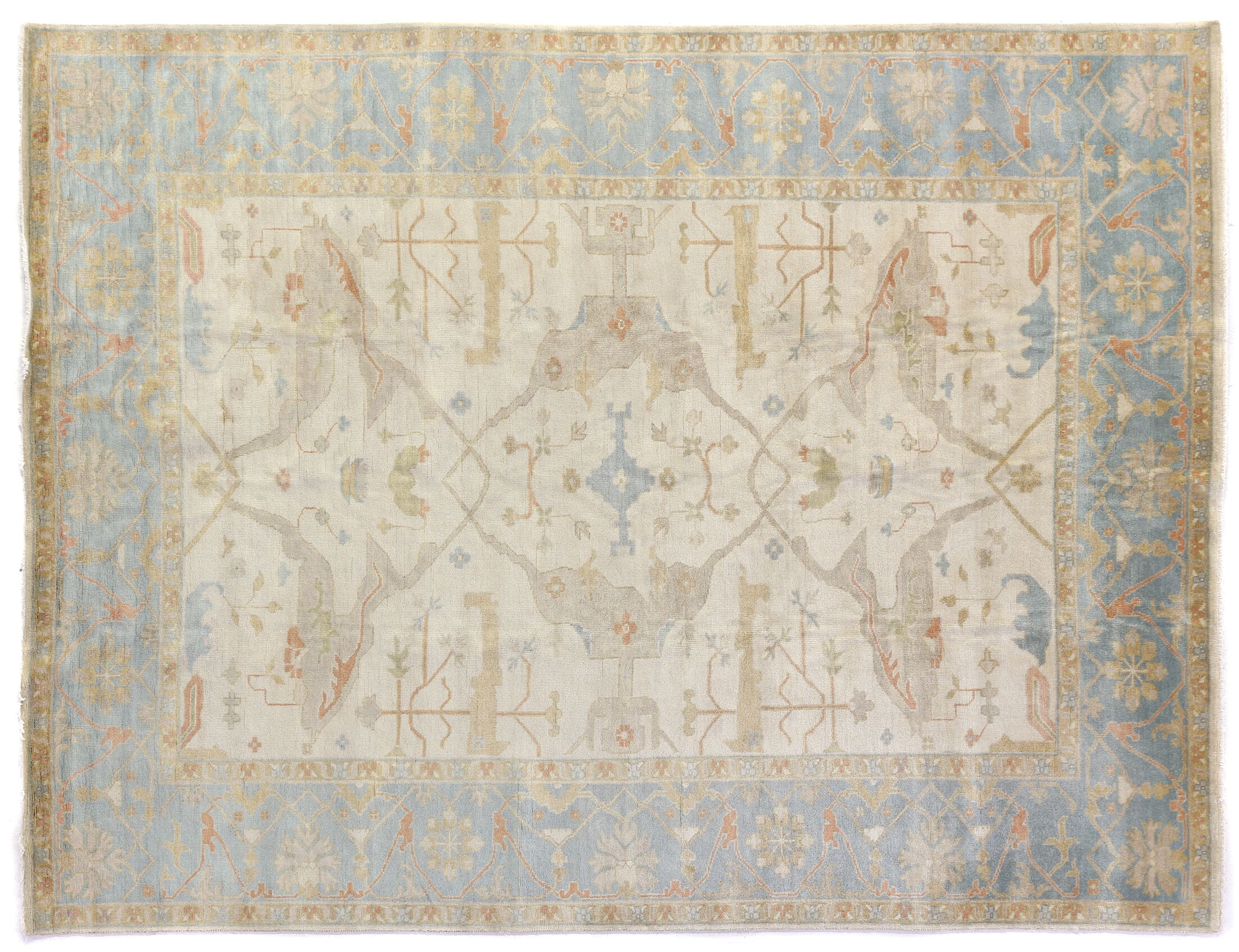 Oushak Hand-Knotted Wool Ivory/Blue Area Rug Rug Size: Rectangle 14' x 18'