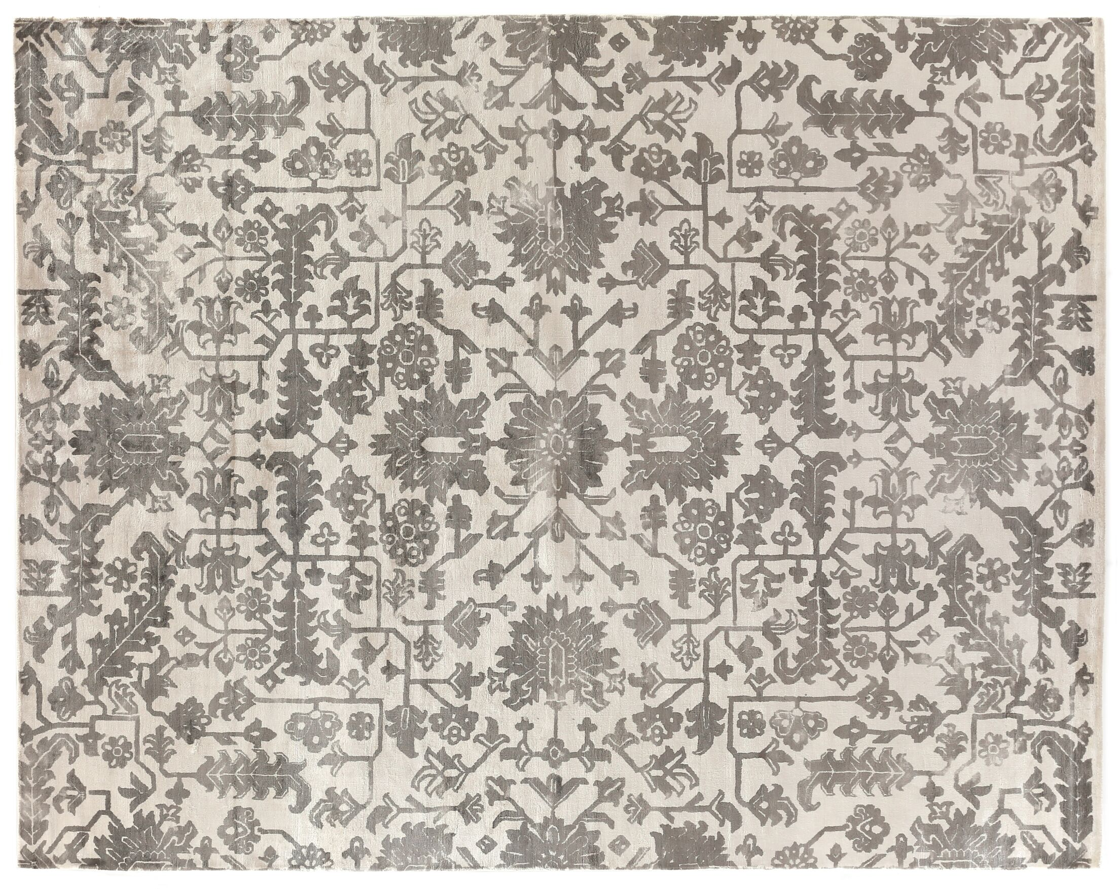 Hand-Woven Silk Ivory/Brown Area Rug Rug Size: Rectangle 10' x 14'