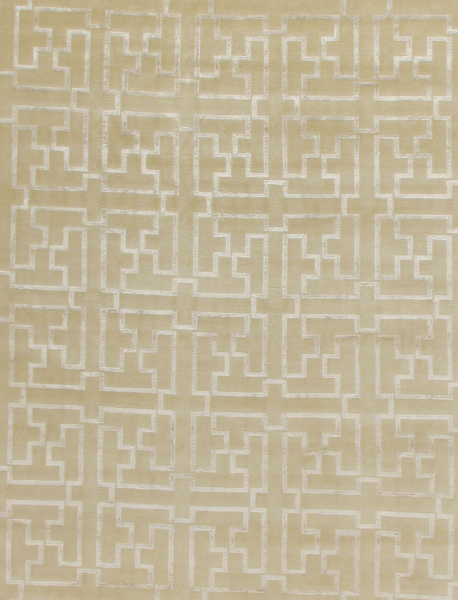 Super Tibetan Hand-Knotted Beige/Silver Area Rug Rug Size: Rectangle 9' x 12'