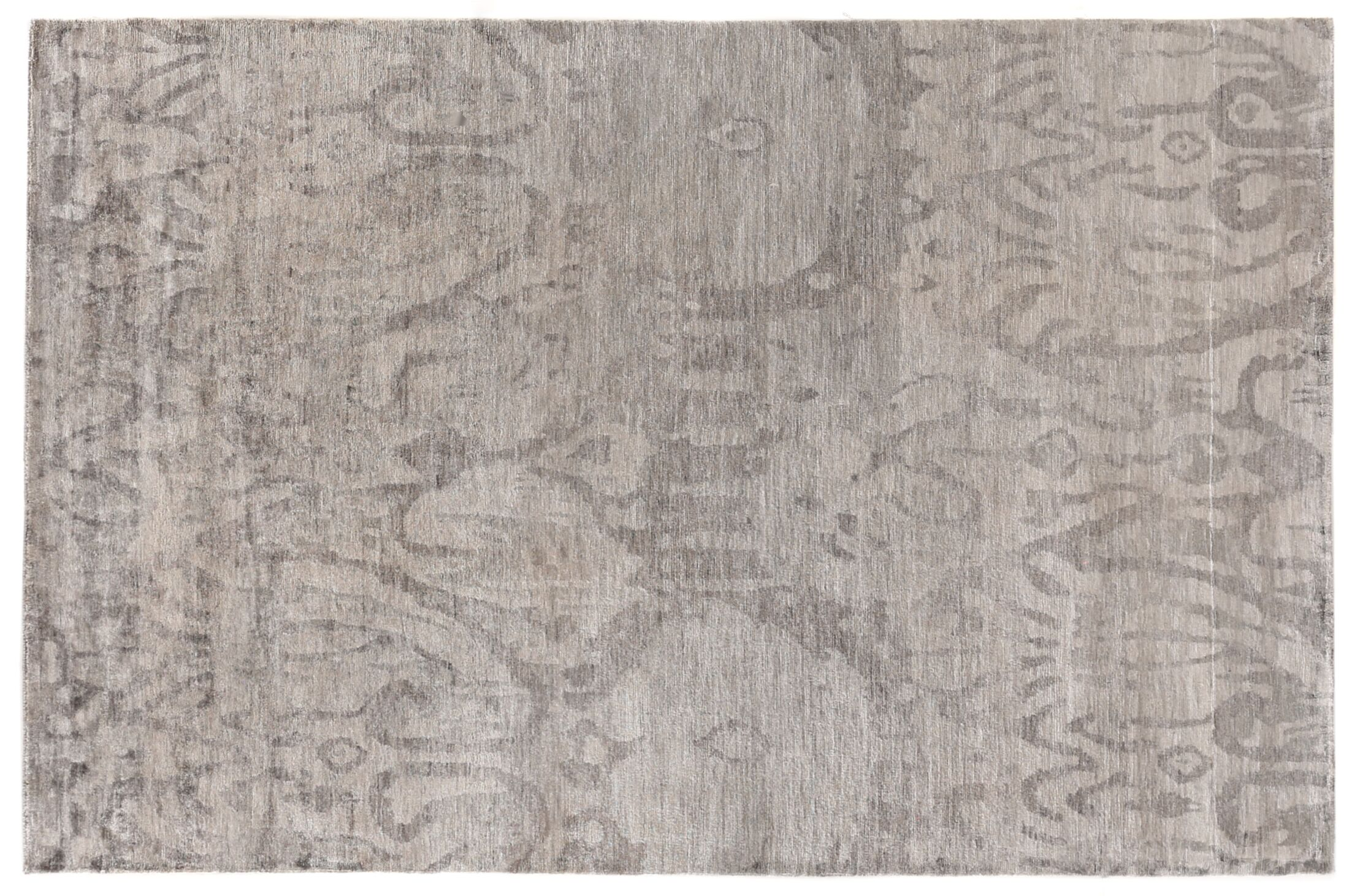 Antique'd Hand-Knotted Silk Brown Area Rug Rug Size: Rectangle 6' x 9'