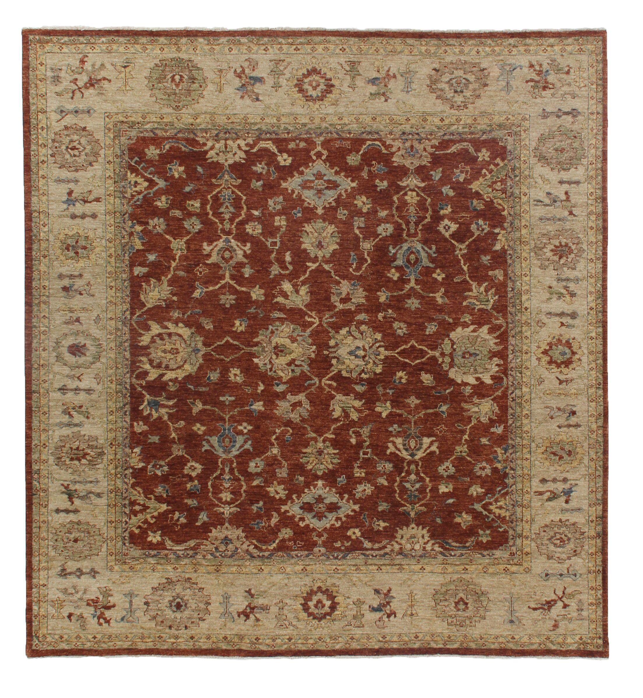 Ziegler Hand-Knotted Wool Red/Beige Area Rug
