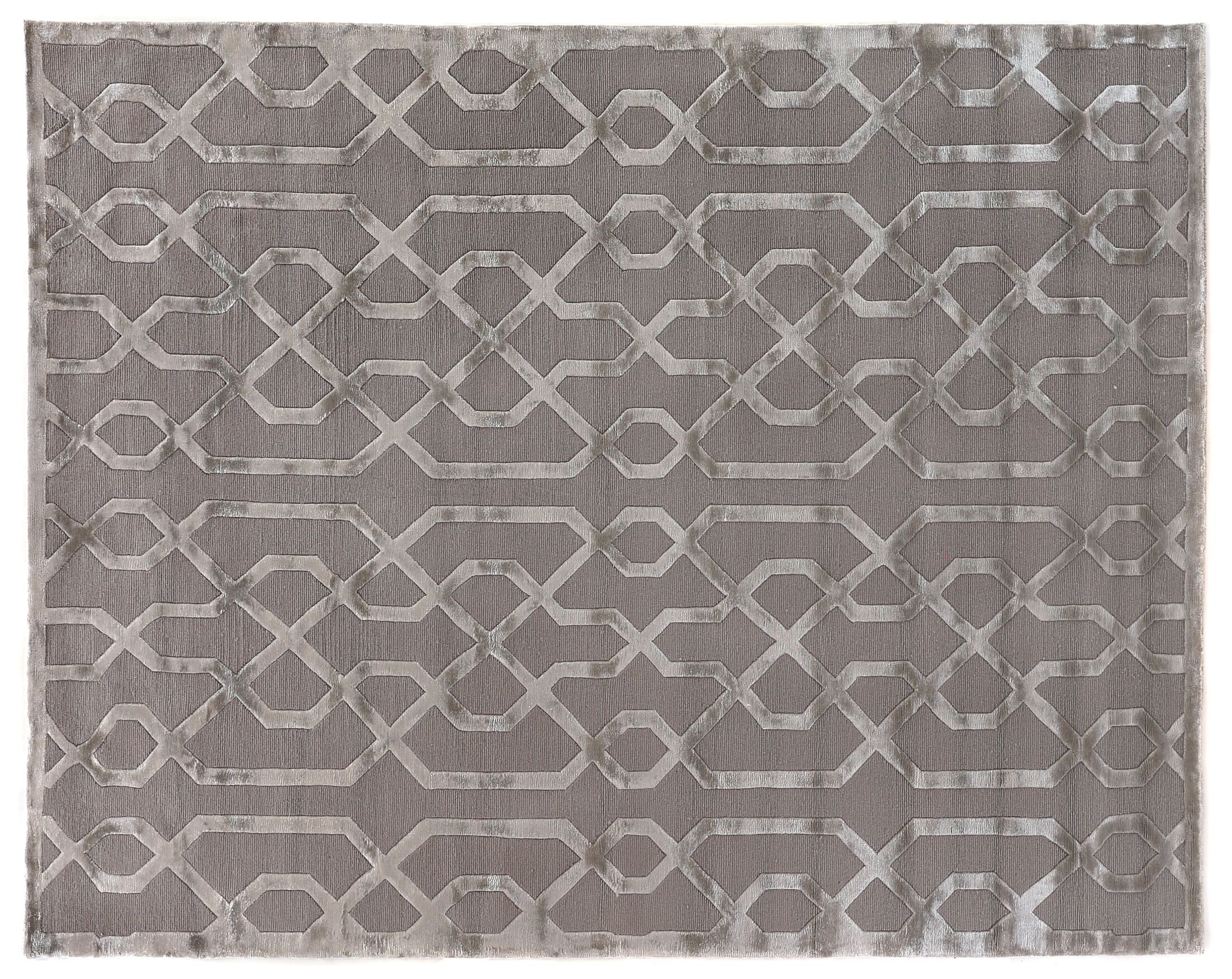 Hand-Knotted Wool/Silk Silver/Gray Area Rug Rug Size: Rectangle 14' x 18'